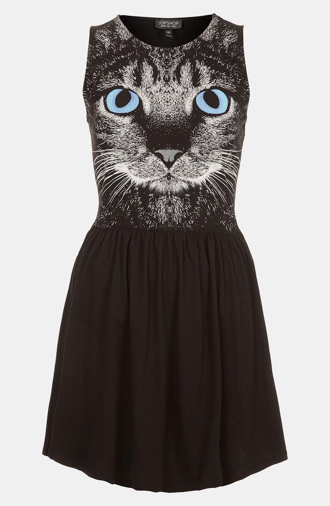 Main Image - Topshop Cat Graphic Skater Dress