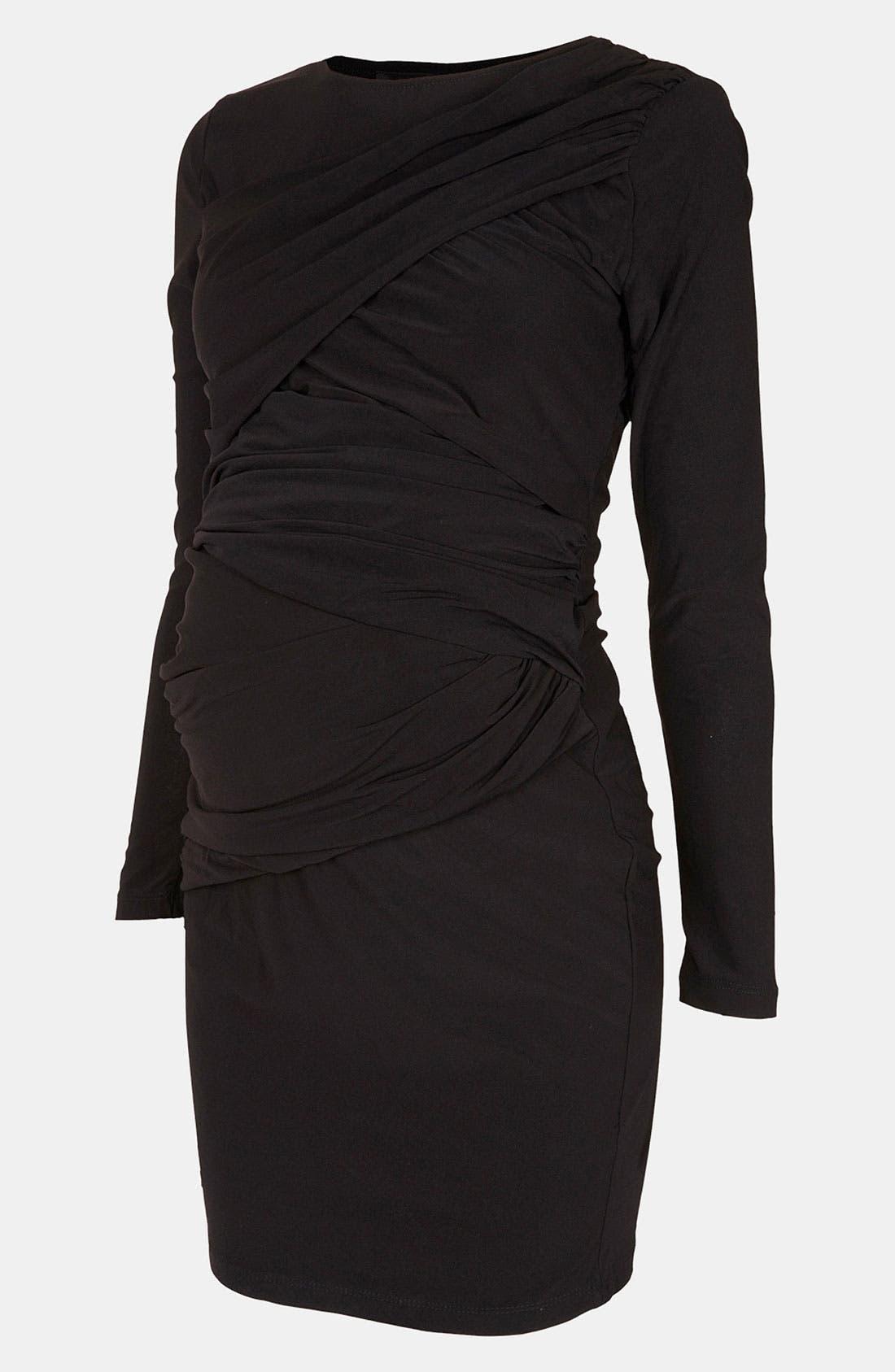 Main Image - Topshop Wrap Panel Body-Con Maternity Dress