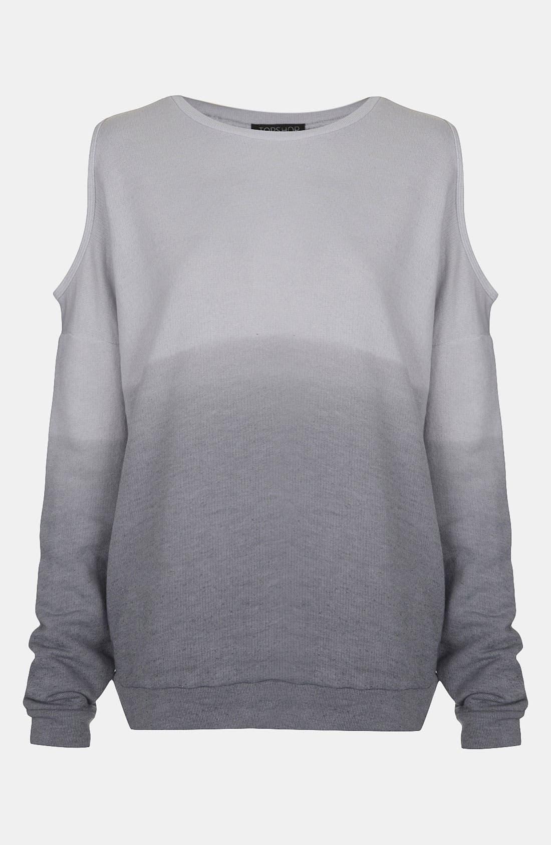 Alternate Image 1 Selected - Topshop Dip Dye Cutout Sweatshirt