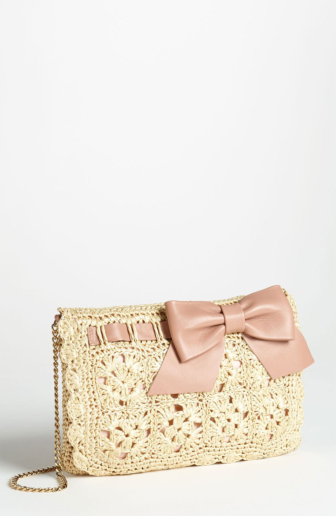 Main Image - RED Valentino Crochet Raffia Crossbody Bag