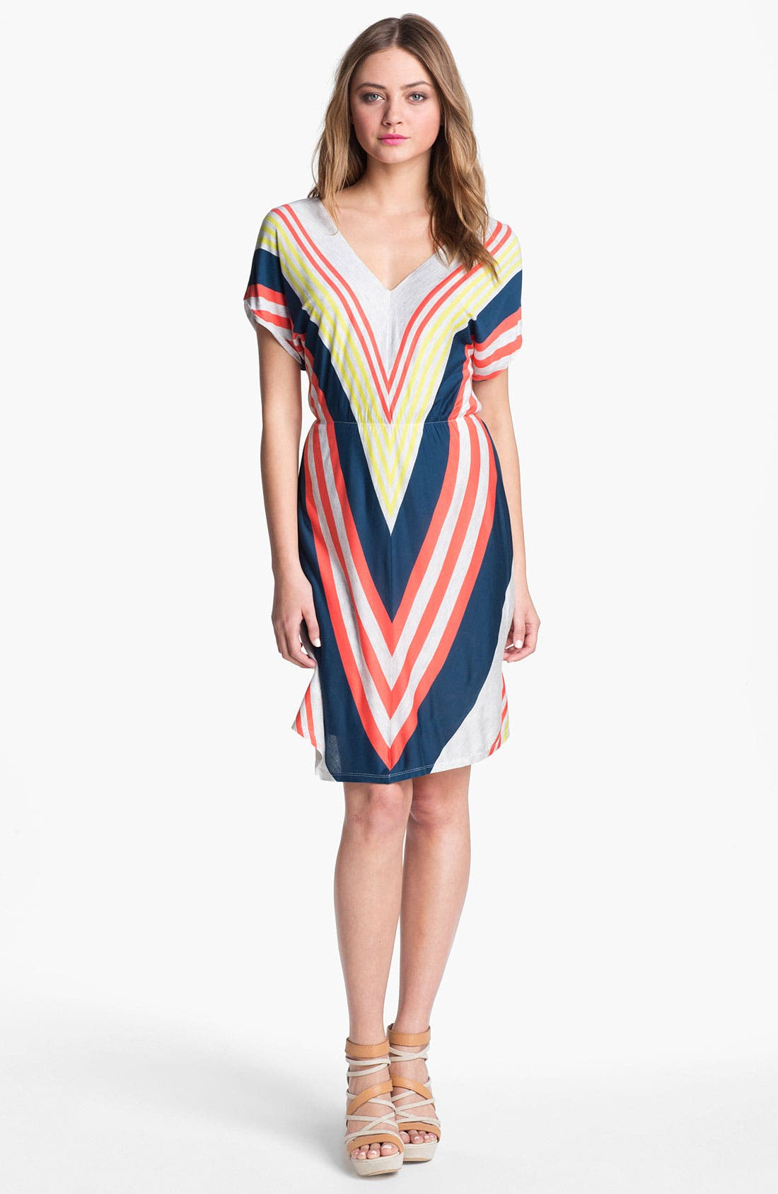Alternate Image 1  - Felicity & Coco V-Neck Chevron Stripe Jersey Dress (Nordstrom Exclusive)