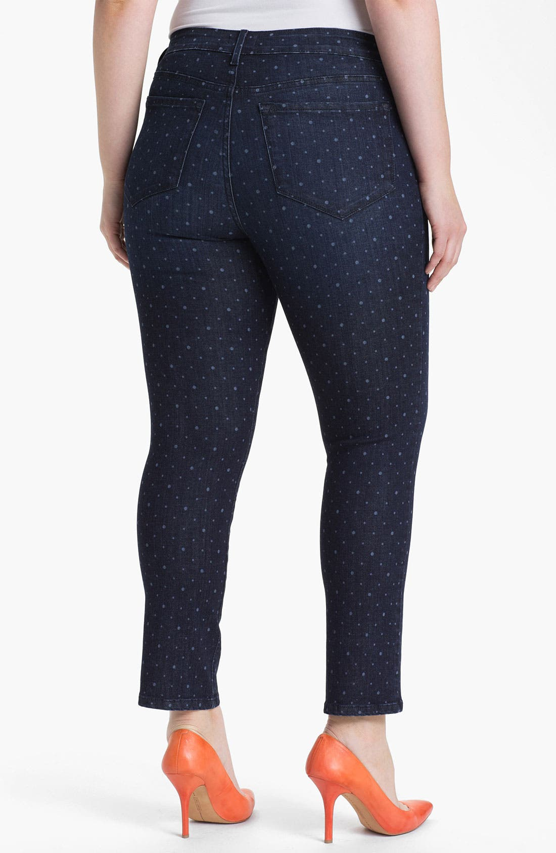 Alternate Image 2  - NYDJ 'Sheri - Polka Dot' Print Skinny Ankle Jeans (Plus Size)