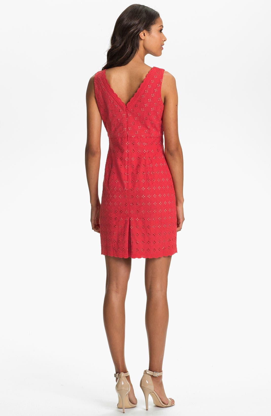 Alternate Image 2  - Donna Ricco Cotton Eyelet Dress