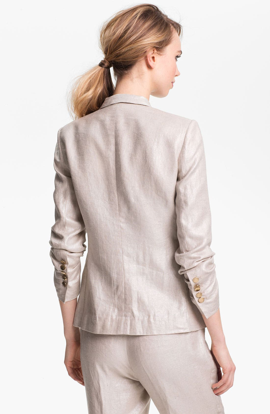 Alternate Image 2  - Vince Camuto Two Button Foiled Linen Blazer (Petite)