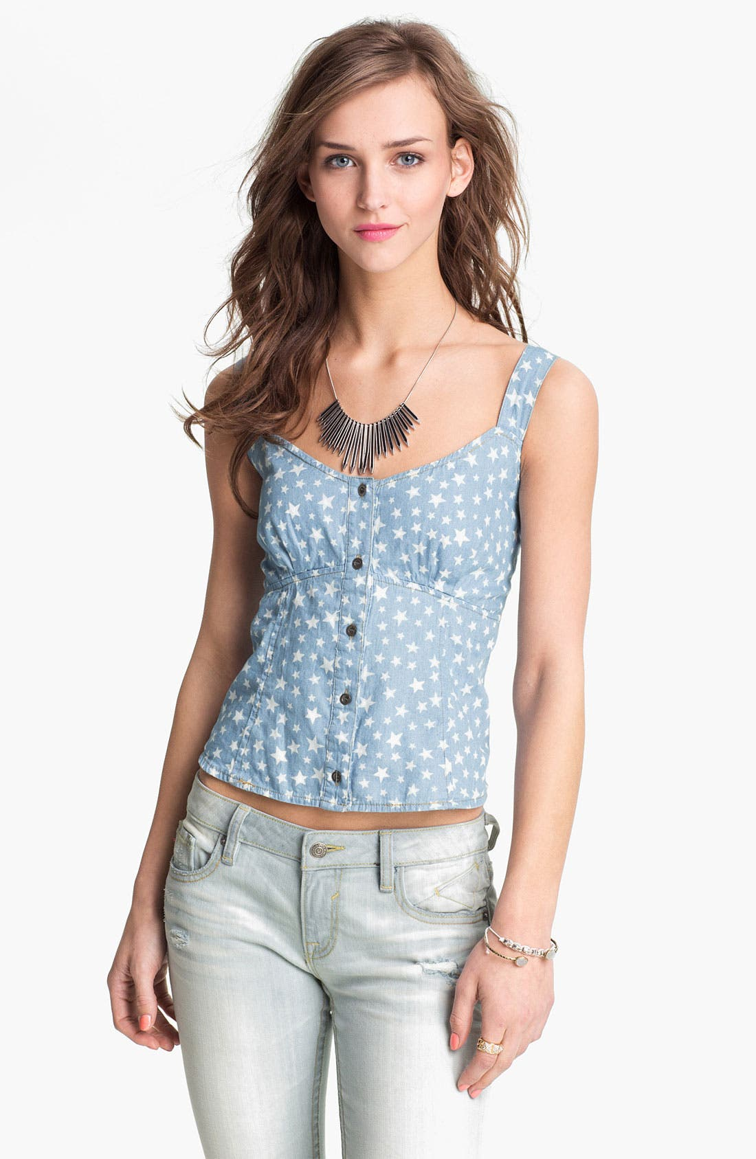 Alternate Image 1 Selected - Mimi Chica Print Chambray Camisole (Juniors)