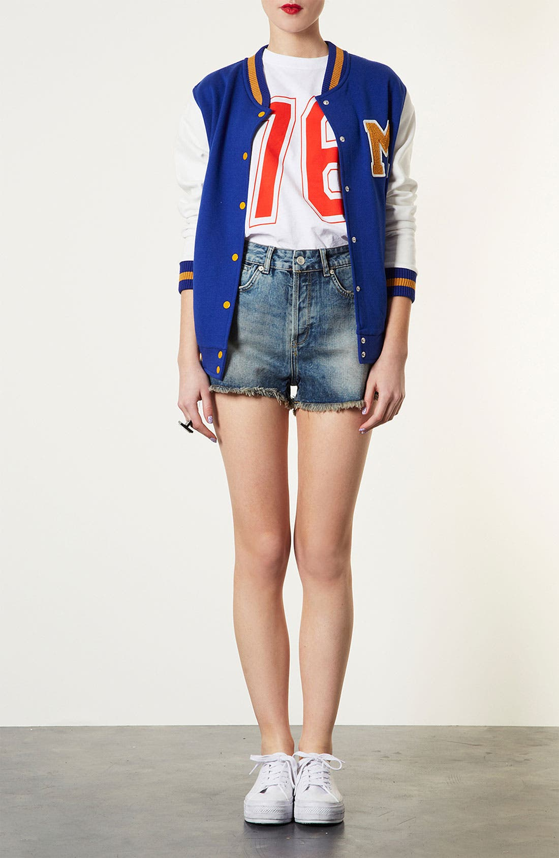 Alternate Image 5  - Topshop Jersey Varsity Jacket