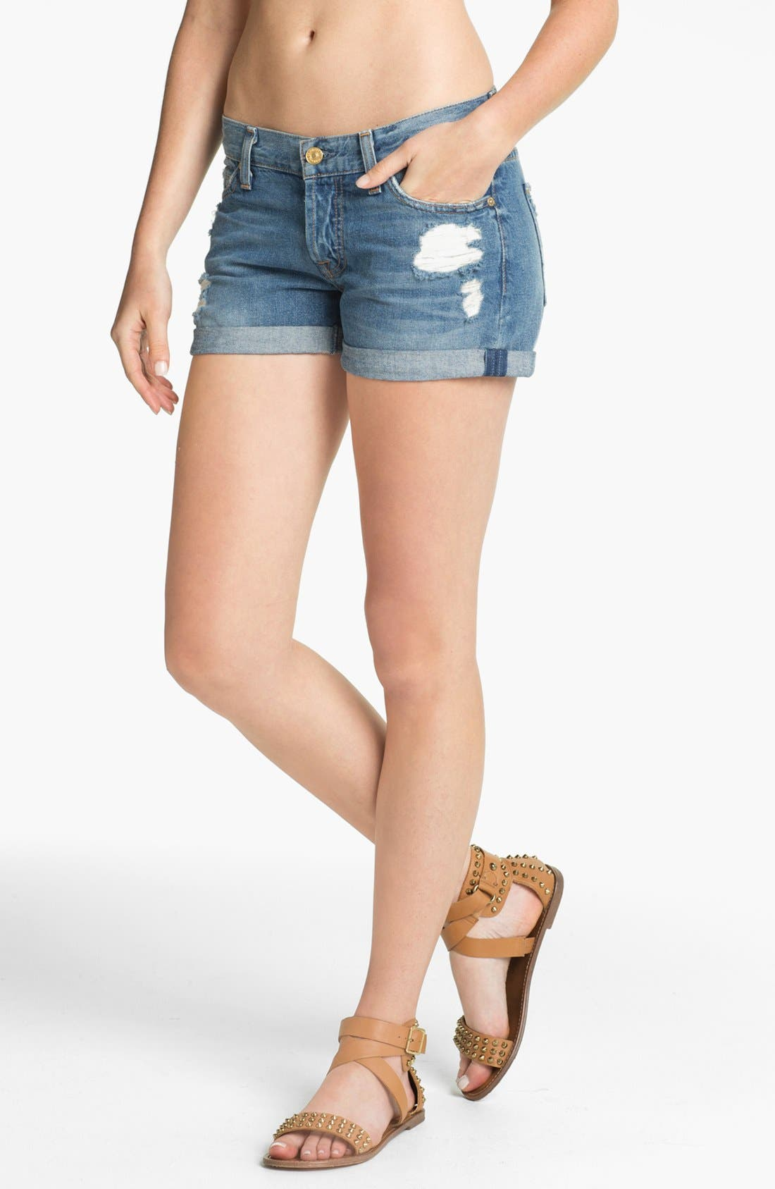 Main Image - 7 For All Mankind® 'Josephina' Cuffed Denim Shorts (Light Destroyed)