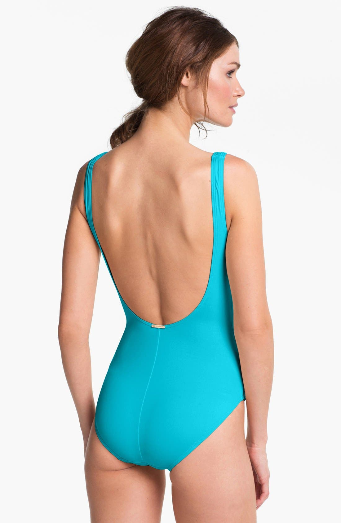 Alternate Image 2  - MICHAEL Michael Kors Shirred One Piece Swimsuit