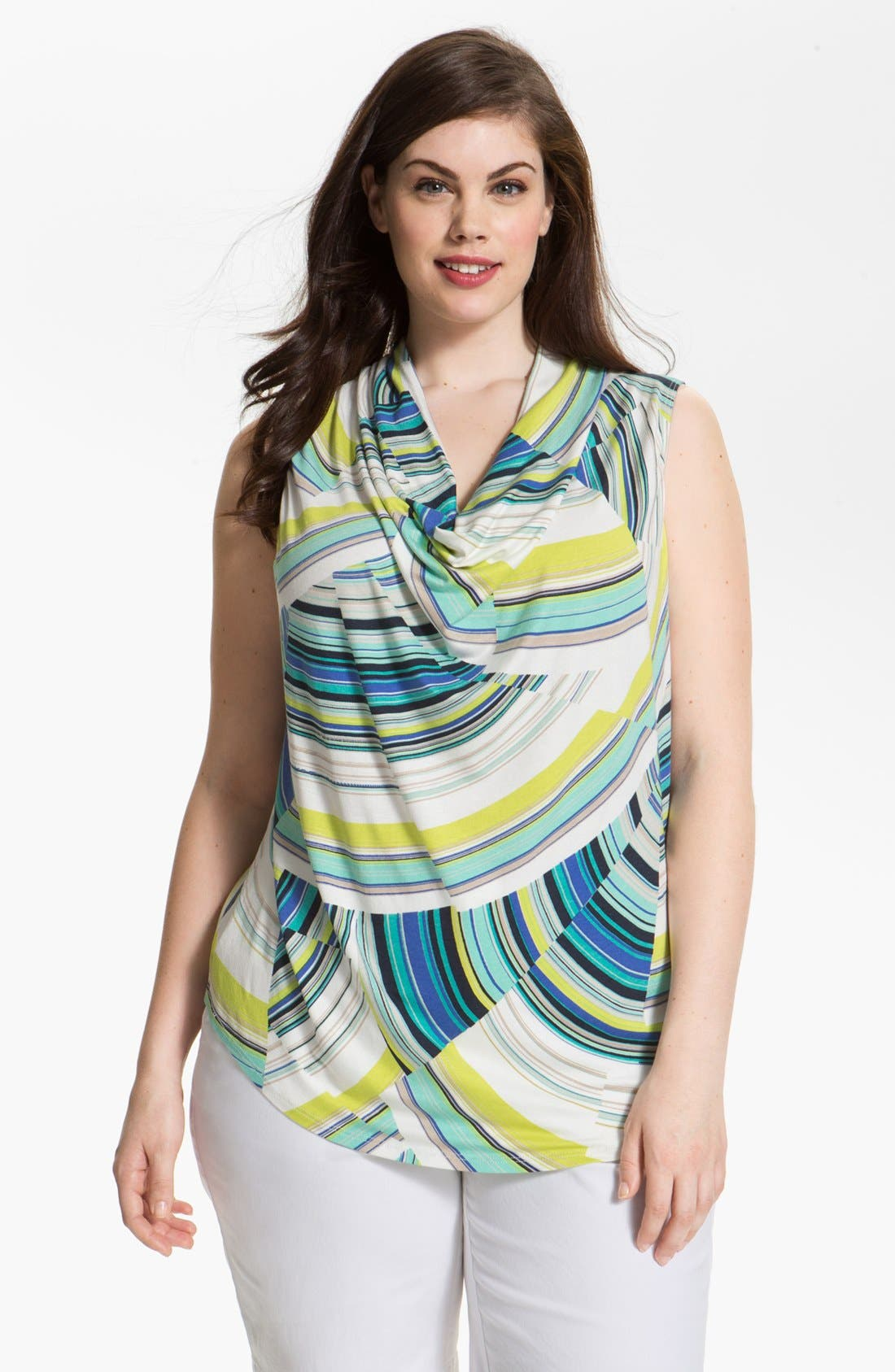 Alternate Image 1 Selected - Karen Kane Print Cowl Neck Top (Plus Size)