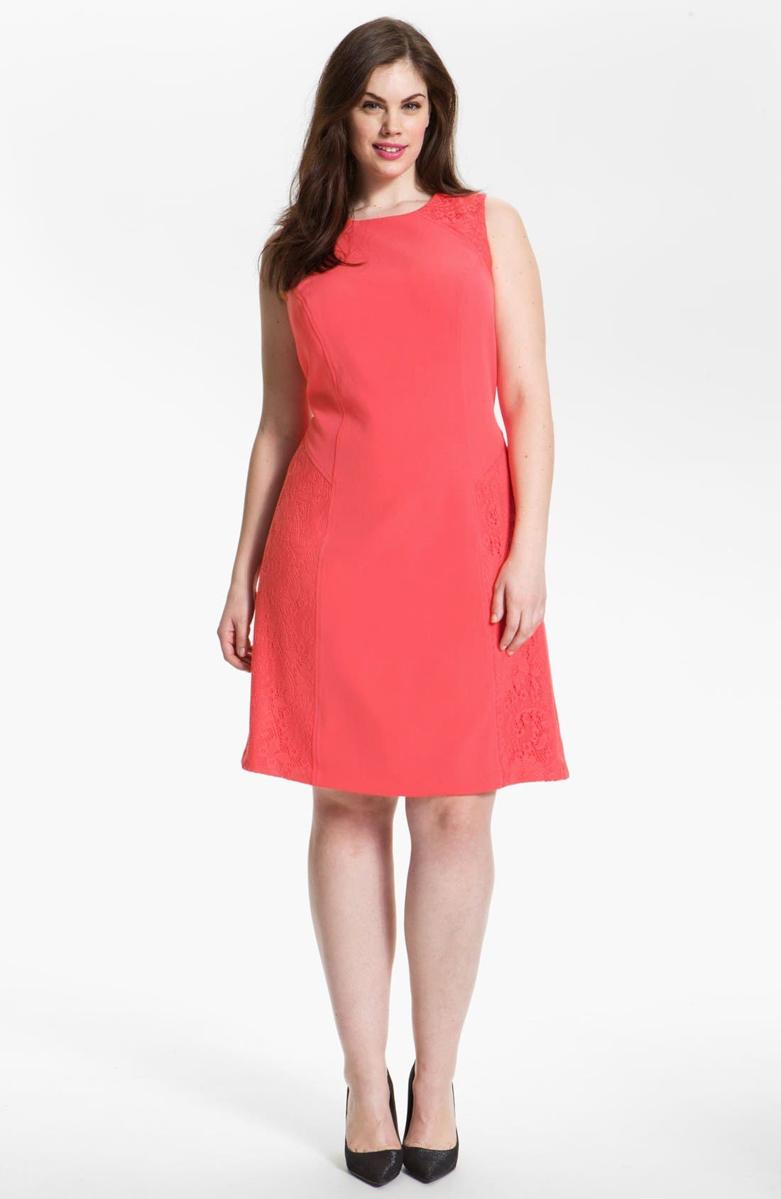Main Image - Adrianna Papell Colorblock Lace & Crepe Dress (Plus Size)