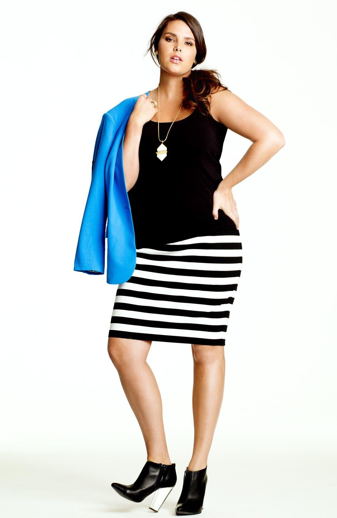 Alternate Image 4  - Vince Camuto Stripe Pencil Skirt (Plus Size)