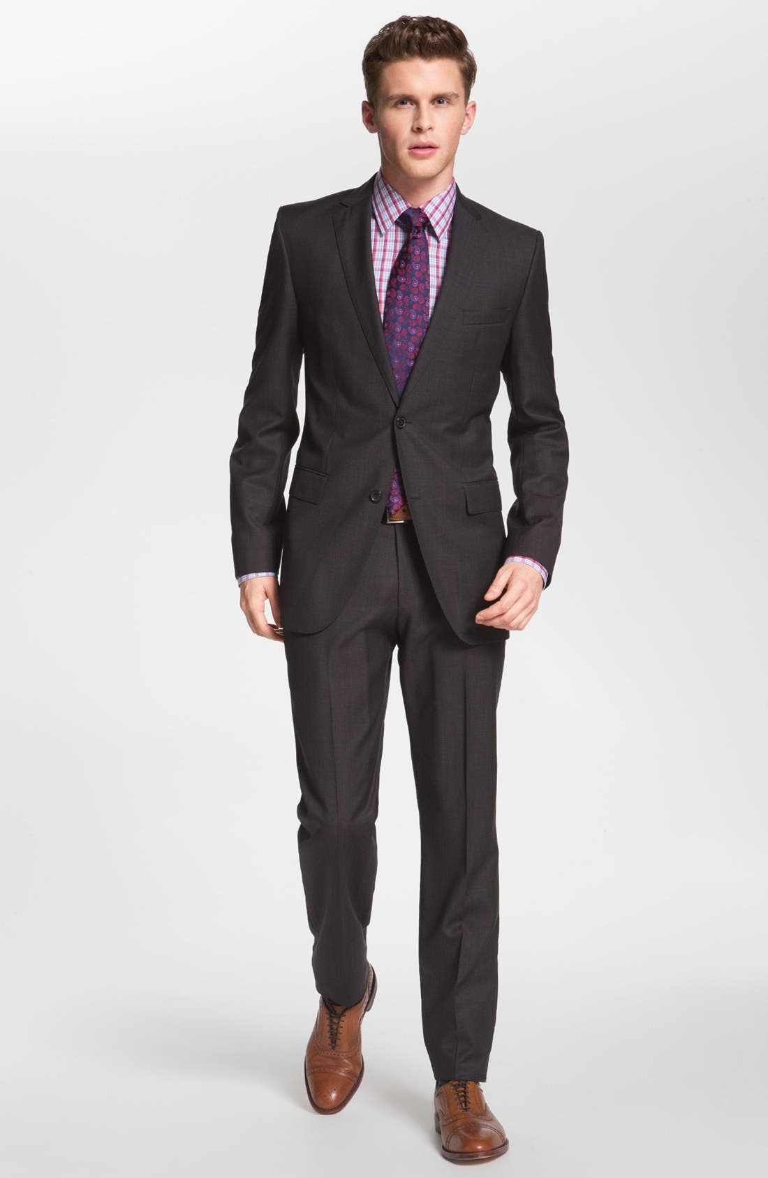 Alternate Image 1 Selected - BOSS 'Jam/Sharp' Trim Fit Dark Grey Suit