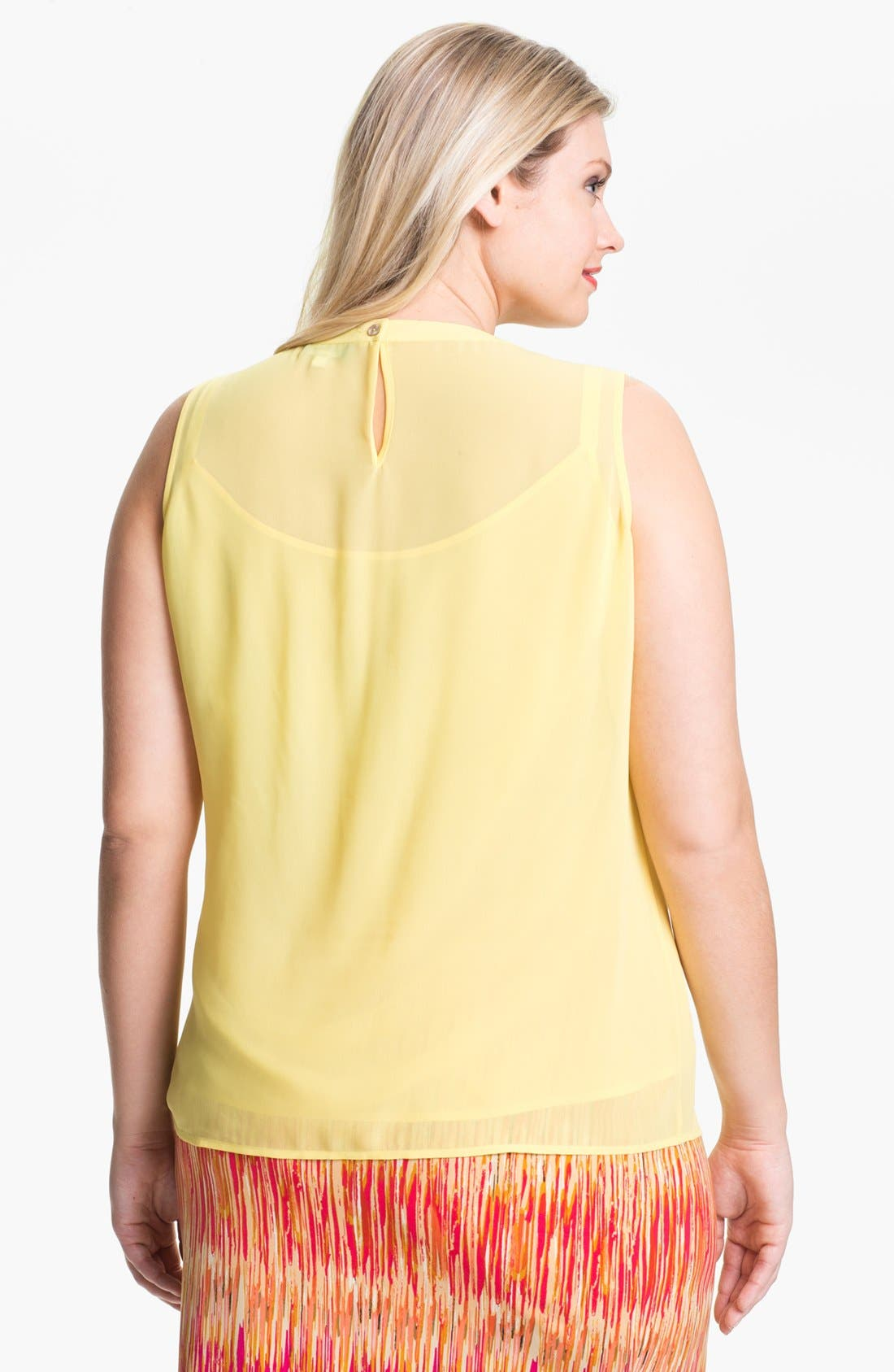 Alternate Image 2  - Vince Camuto Pleat Front Sleeveless Blouse (Plus Size)