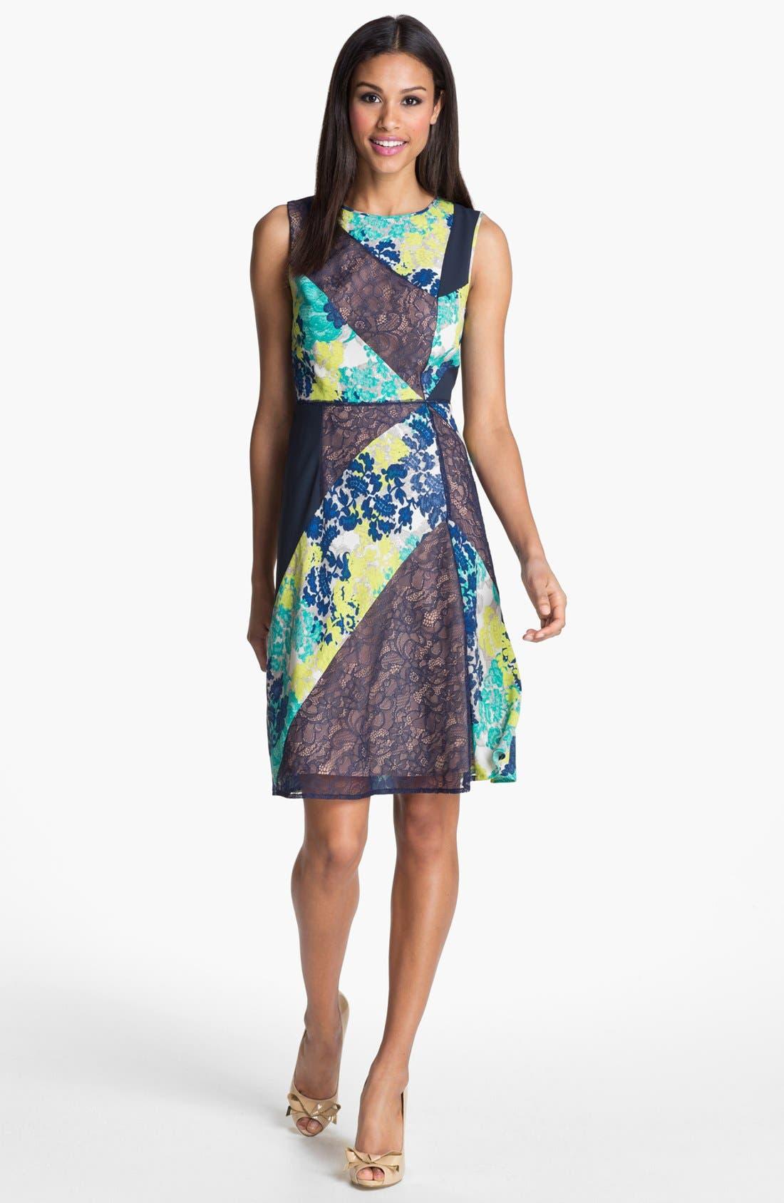 Alternate Image 1 Selected - BCBGMAXAZRIA Mixed Print & Lace Sheath Dress