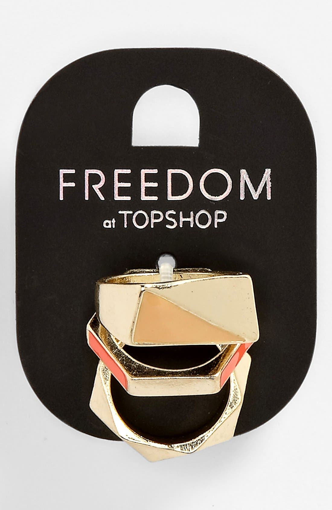 Main Image - Topshop 'Neon' Rings (Set of 3)