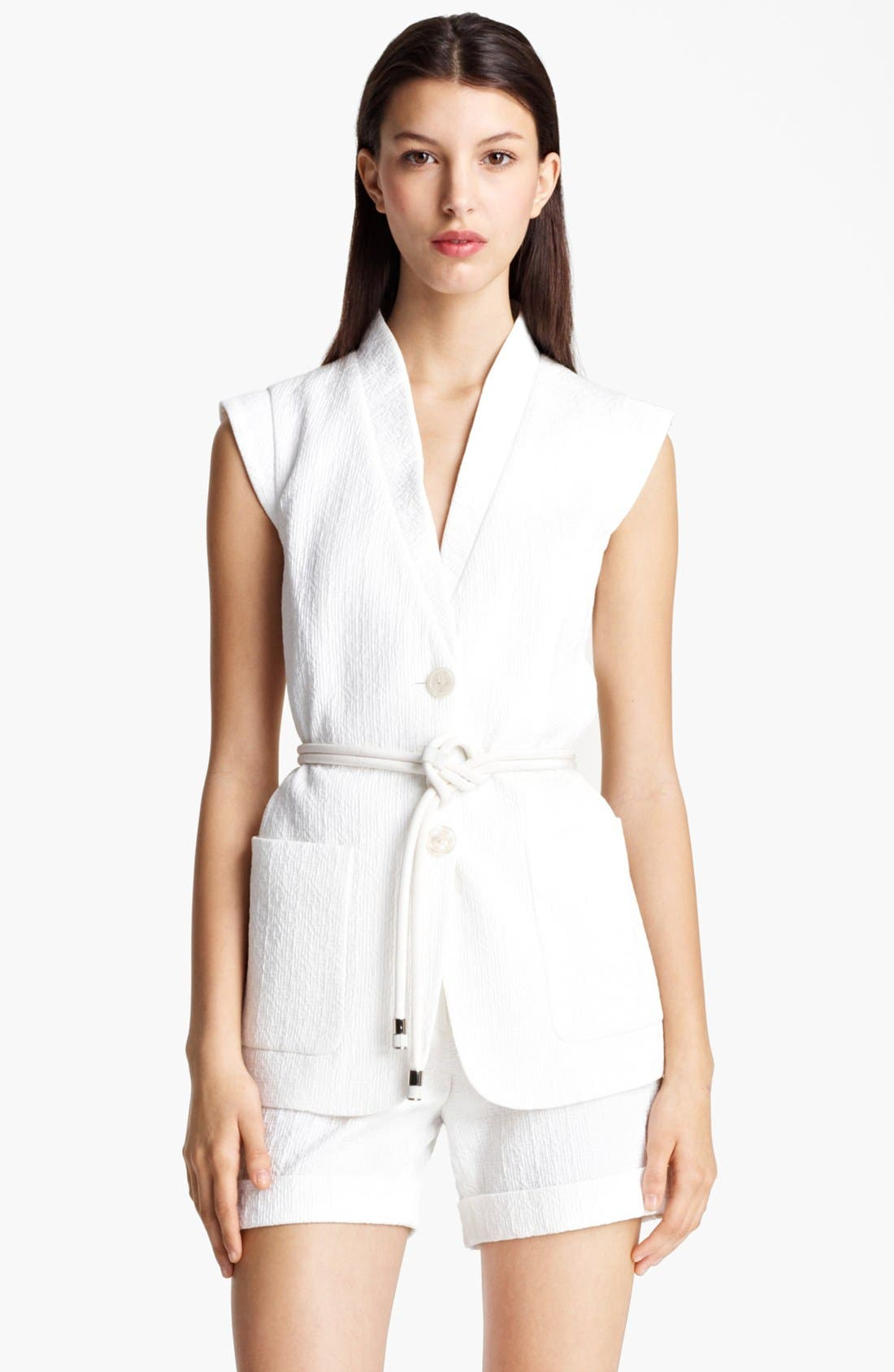 Main Image - Armani Collezioni Embroidered Vest with Rope Belt