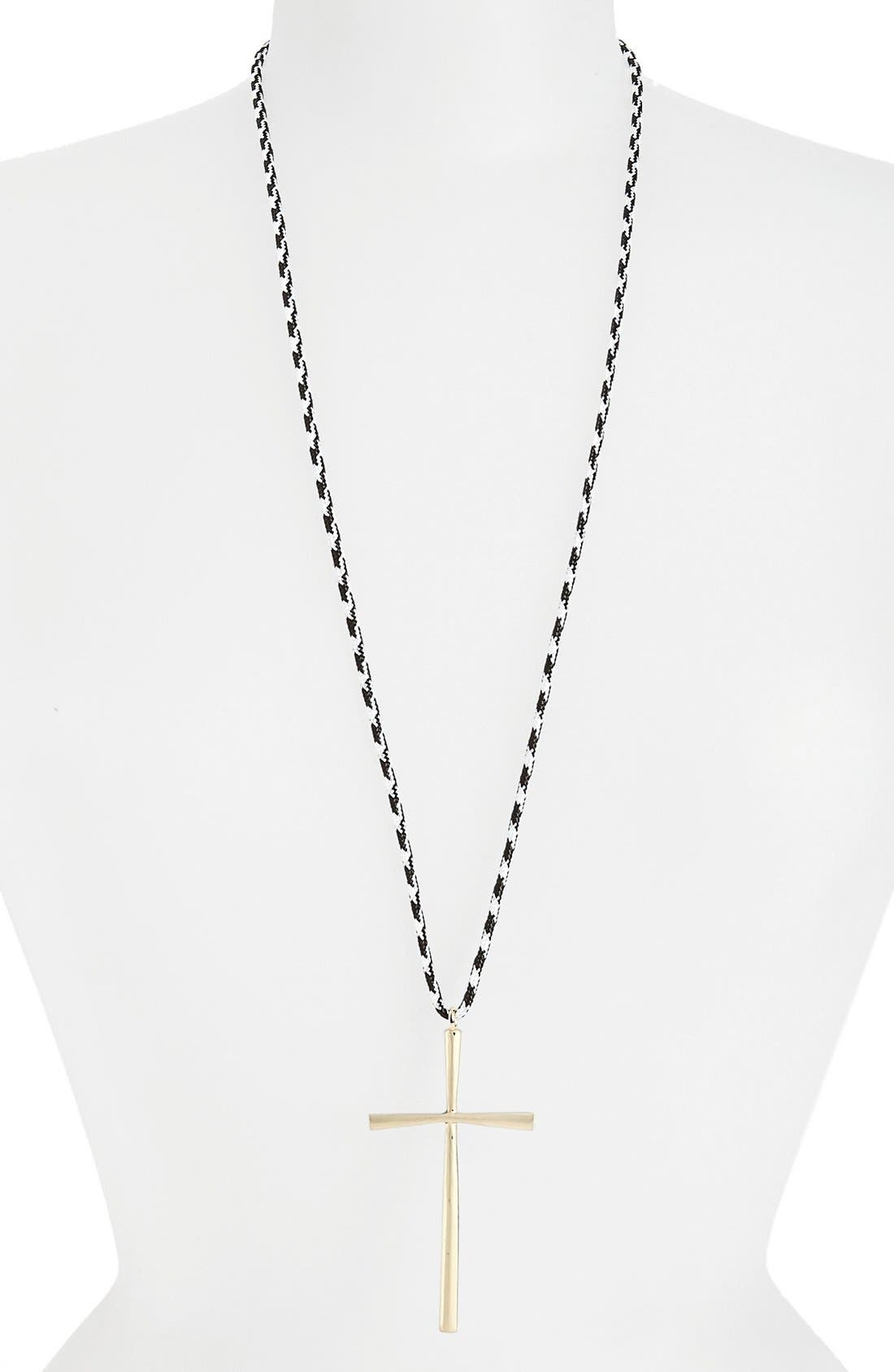 Alternate Image 1 Selected - Topshop 'Absail' Cross Pendant Necklace