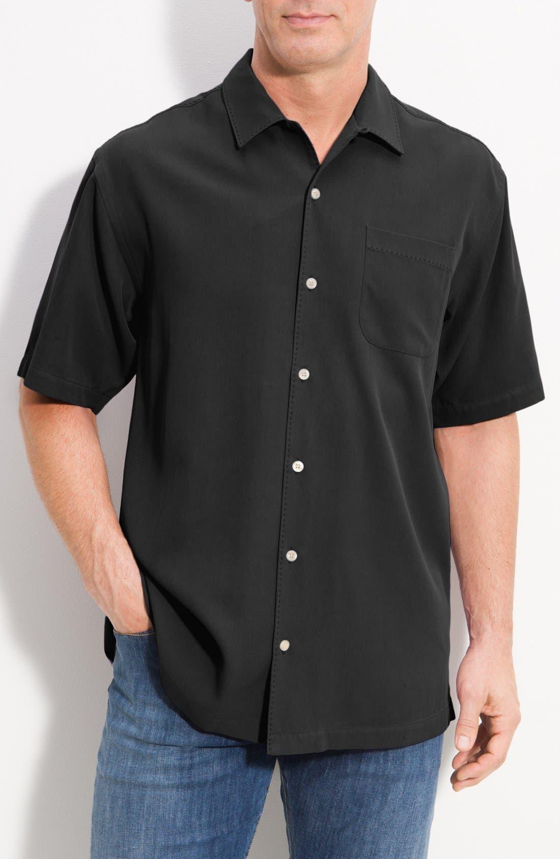 Main Image - Tommy Bahama 'Catalina Twill' Island Modern Fit Silk Campshirt