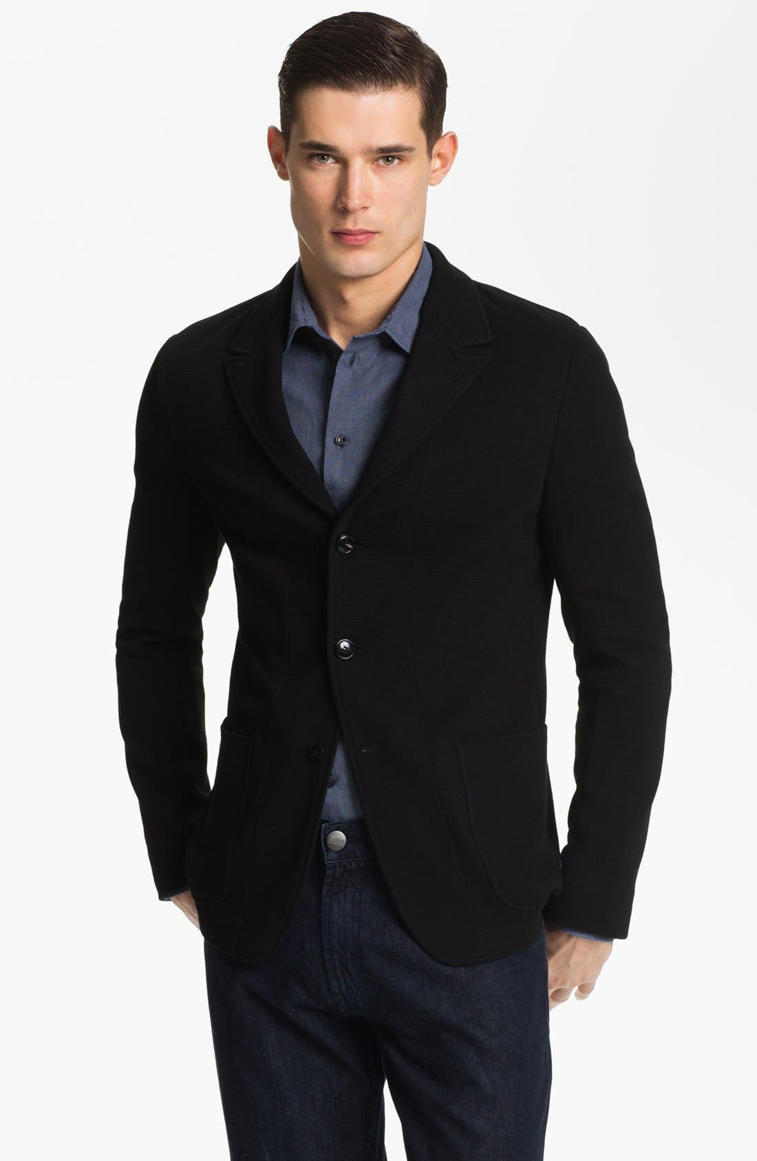 Main Image - Armani Collezioni Three Button Knit Sweater Jacket