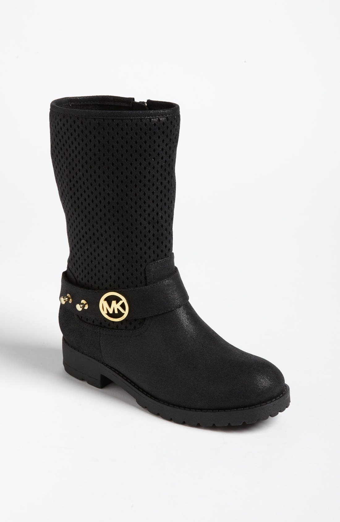 Alternate Image 1 Selected - MICHAEL Michael Kors Perforated Shaft Boot (Toddler, Little Kid & Big Kid) (Online Only)
