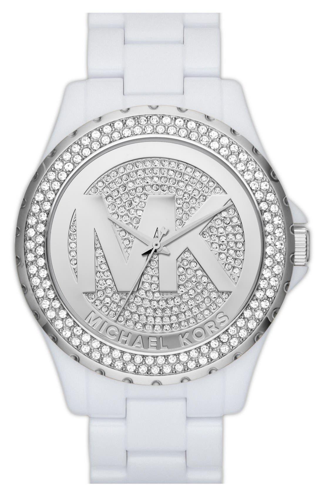 Main Image - Michael Kors 'Madison' Pavé Logo Watch, 42mm