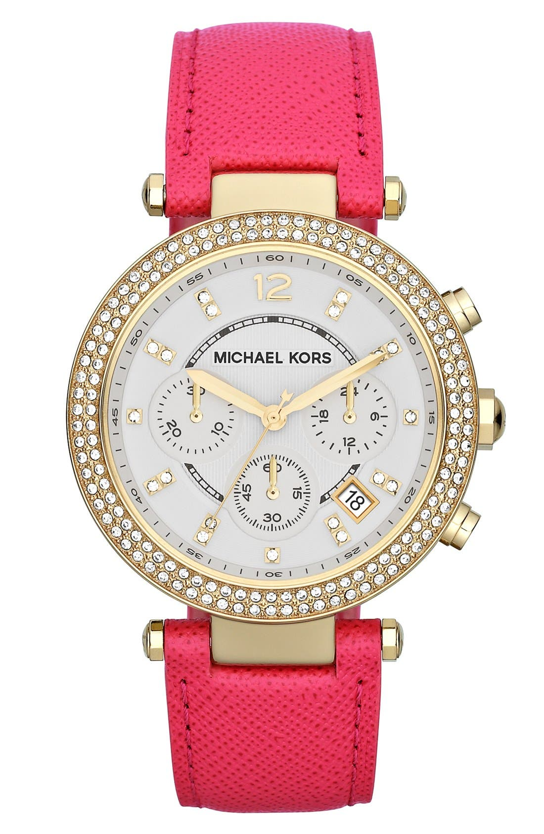 Main Image - Michael Kors 'Parker' Chronograph Leather Watch, 39mm