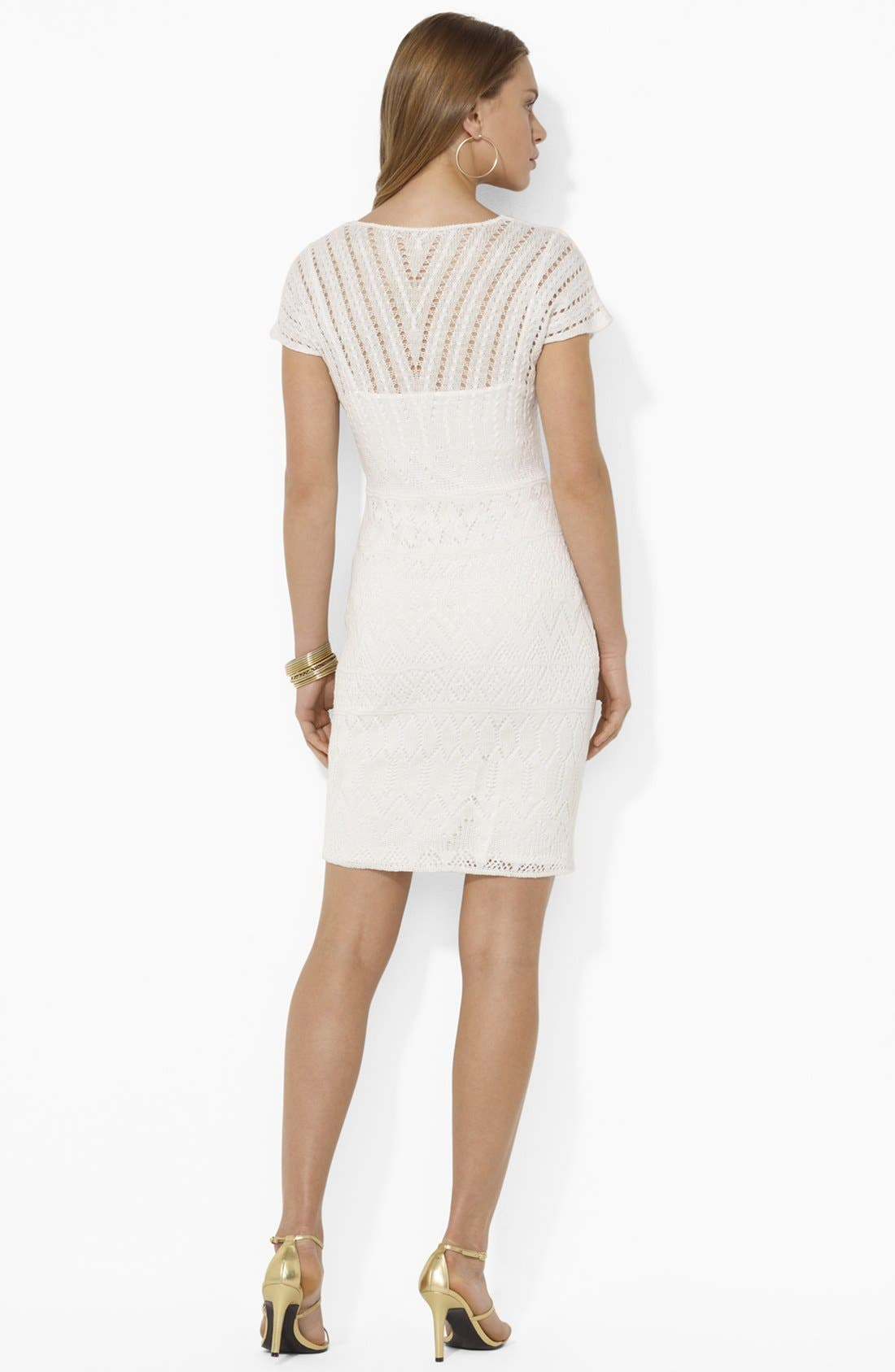 Alternate Image 2  - Lauren Ralph Lauren V-Neck Pointelle Dress