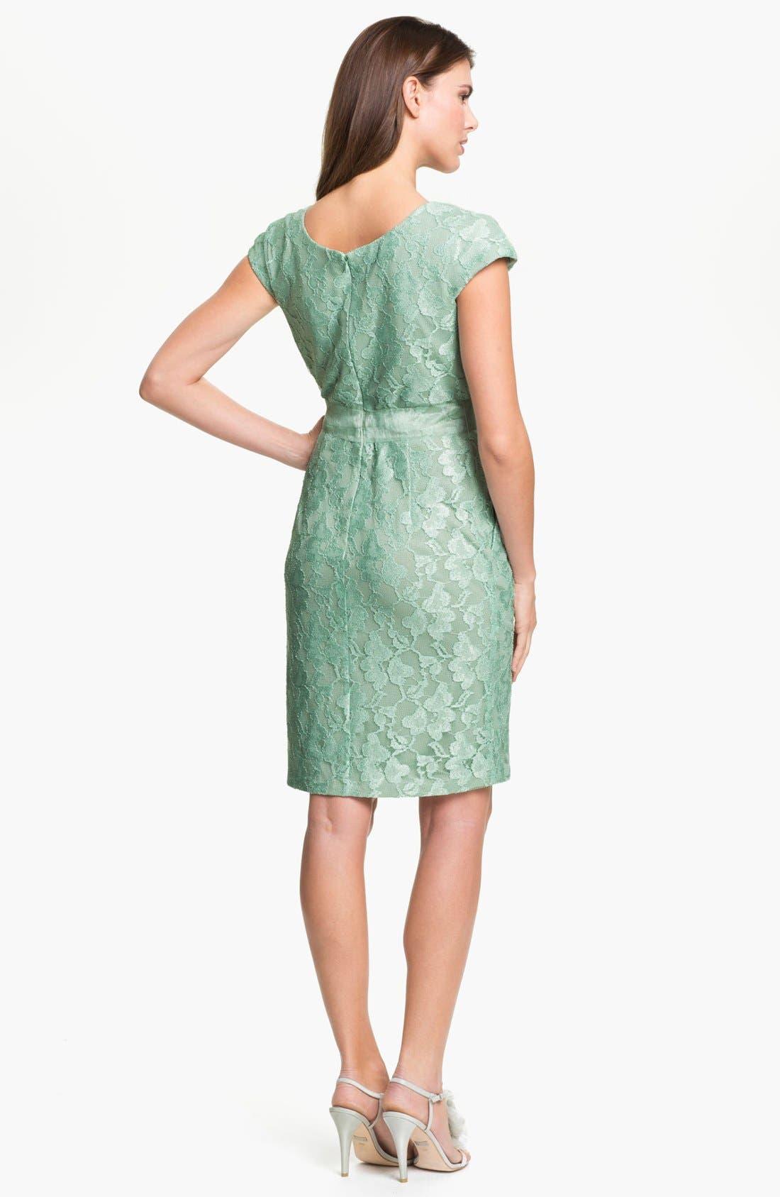 Alternate Image 2  - Alex Evenings Cap Sleeve Lace Sheath Dress