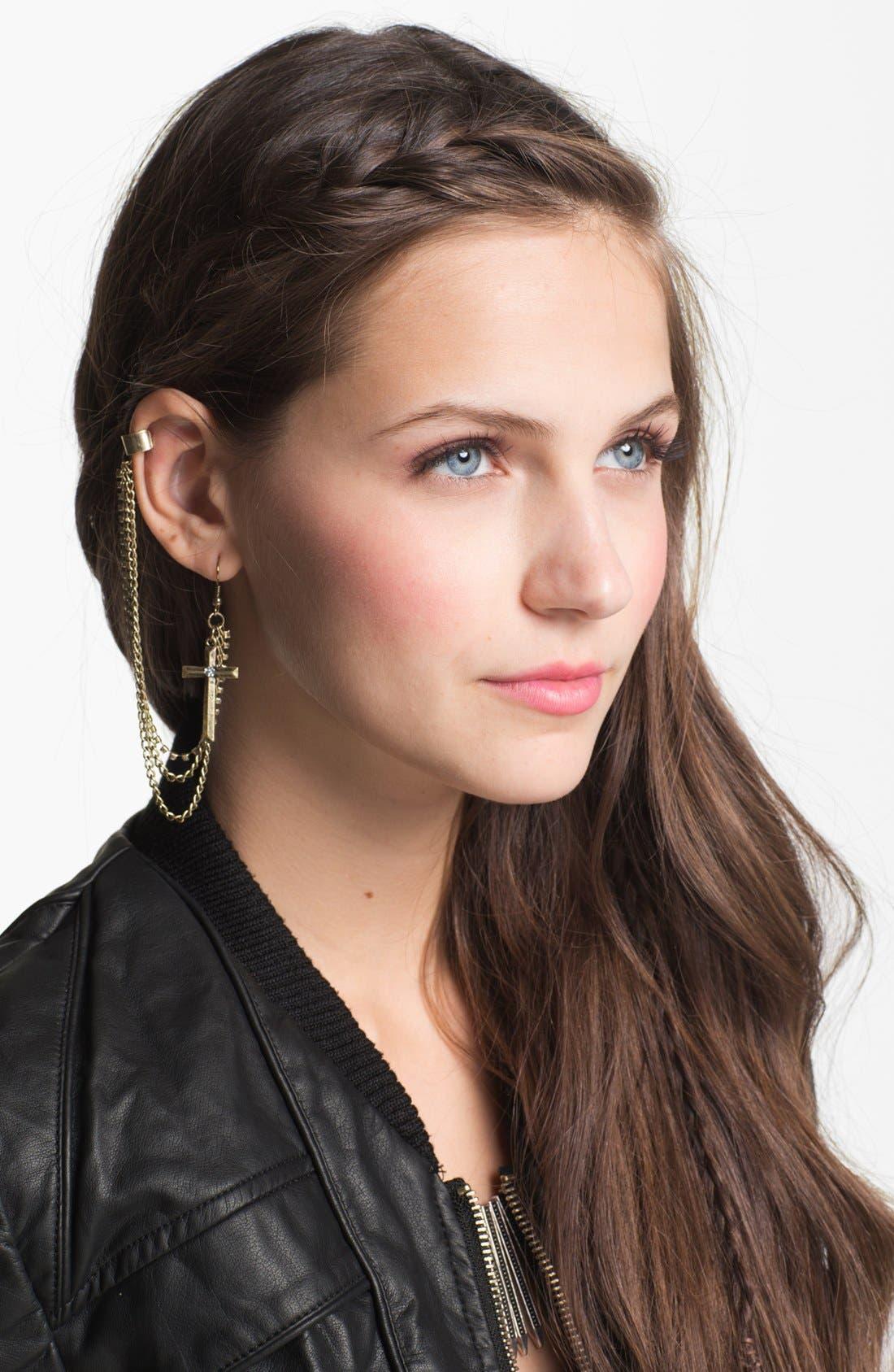 Main Image - BP. Cross Chain Ear Cuff
