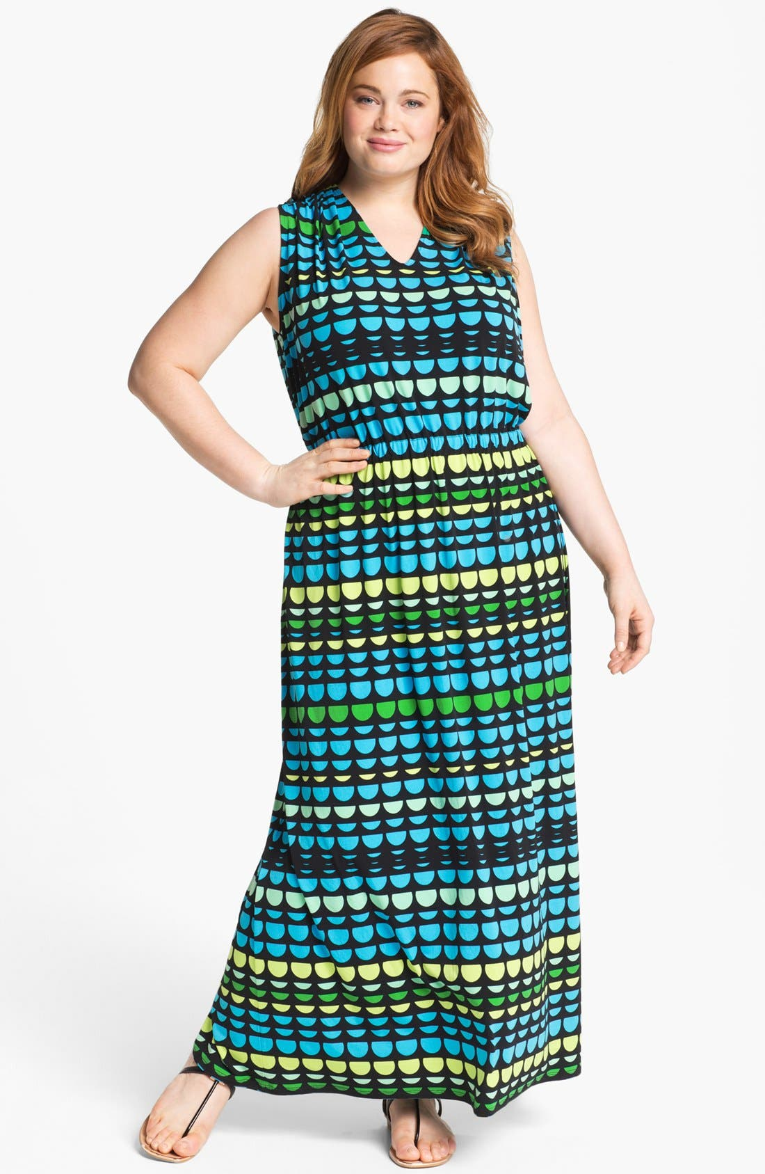 Alternate Image 1 Selected - Vince Camuto Print Jersey Maxi Dress (Plus)