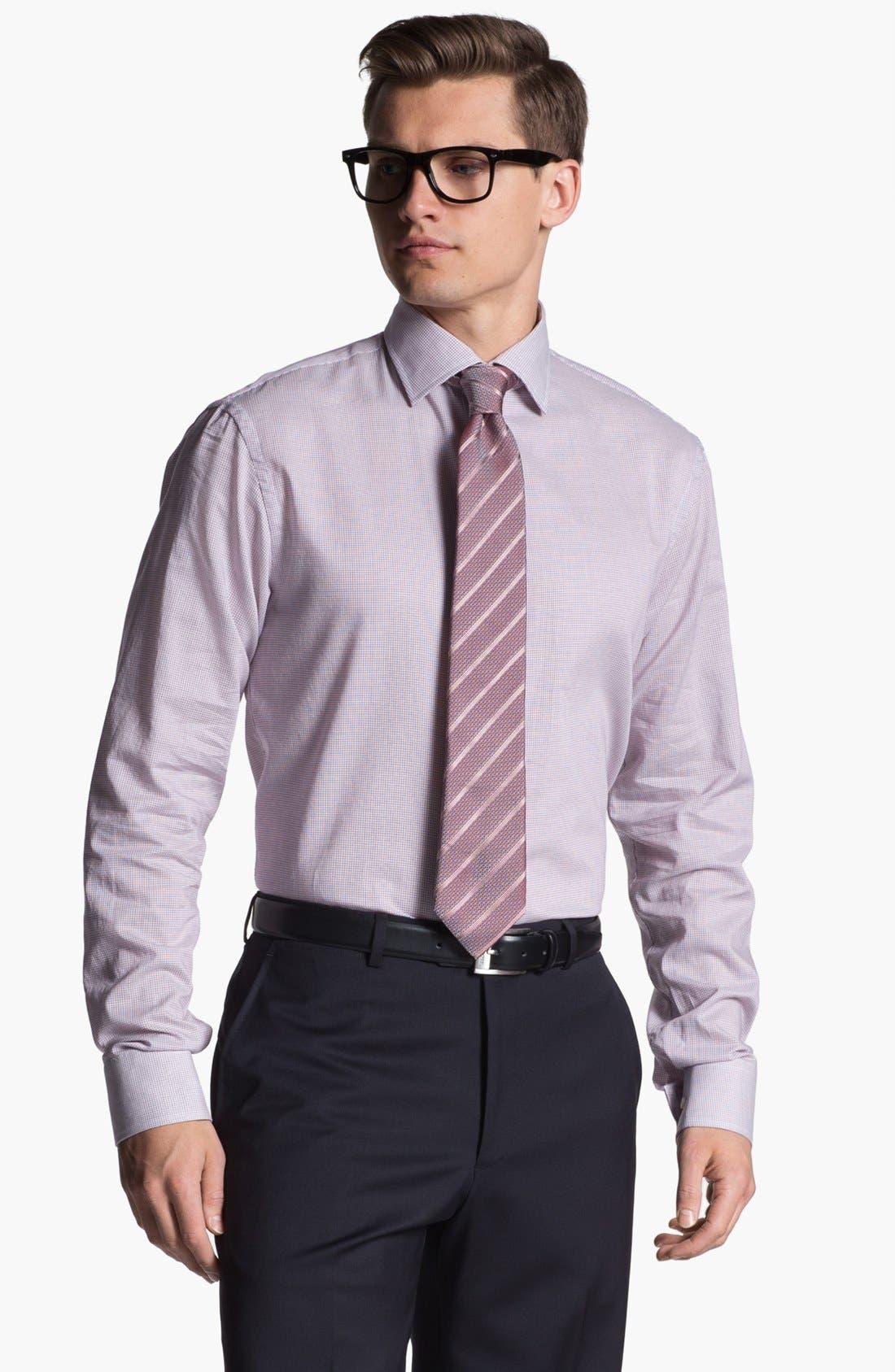 Main Image - Armani Collezioni Trim Fit Grid Check Cotton Dress Shirt