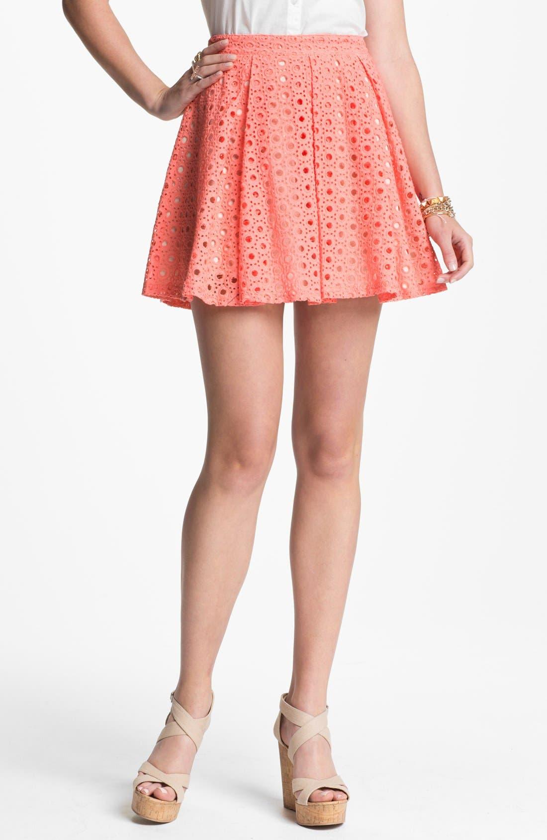 Main Image - Lush Eyelet Skater Skirt (Juniors)(Online Exclusive)