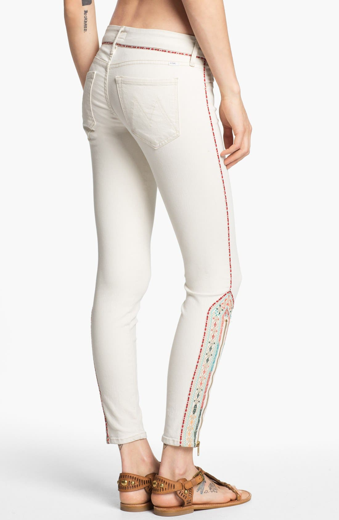 Alternate Image 2  - MOTHER 'The Looker' Ankle Zip Skinny Jeans (Barefoot)