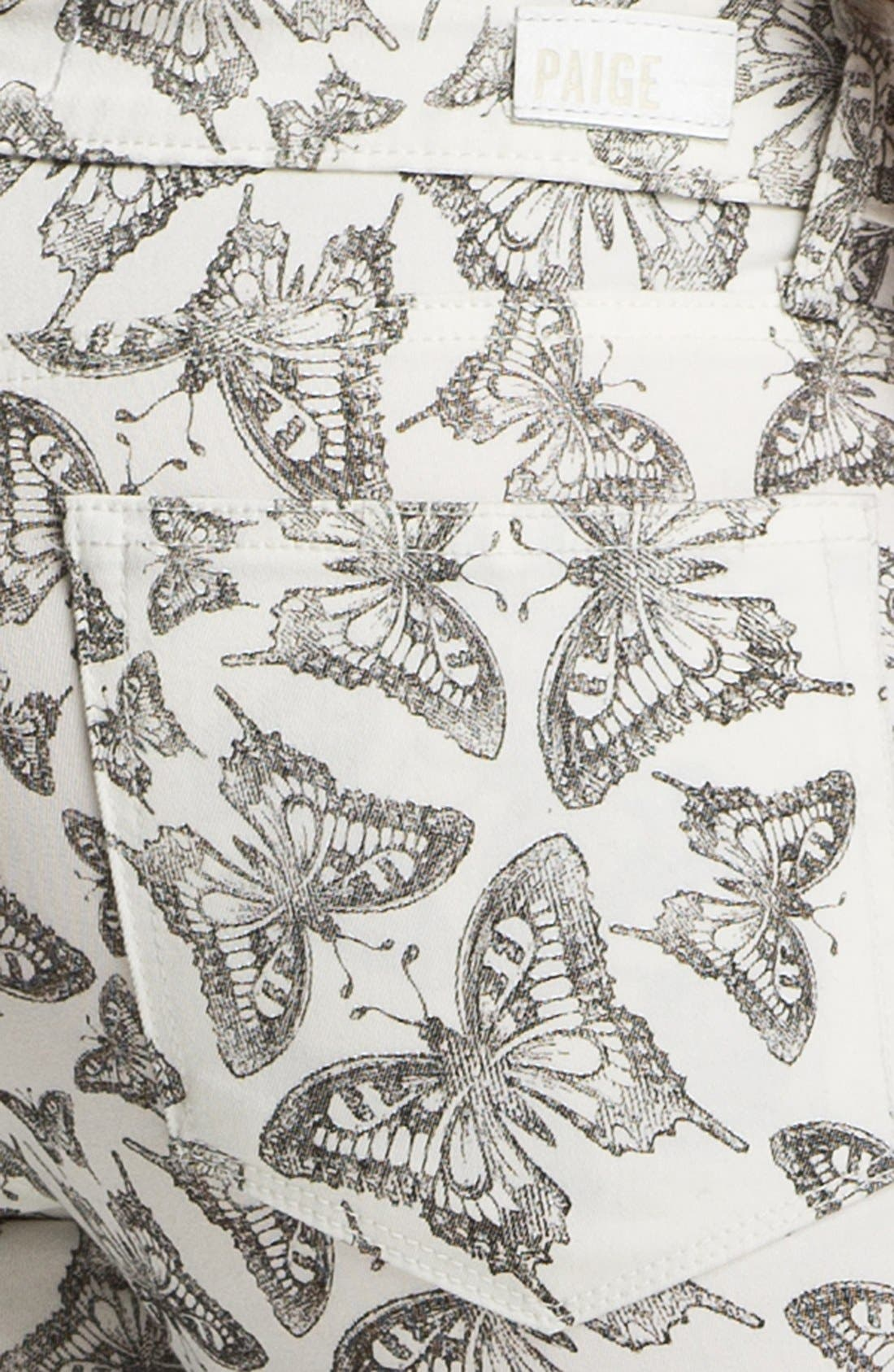 Alternate Image 3  - Paige Denim 'Verdugo' Ultra Skinny Jeans (Butterfly Print)