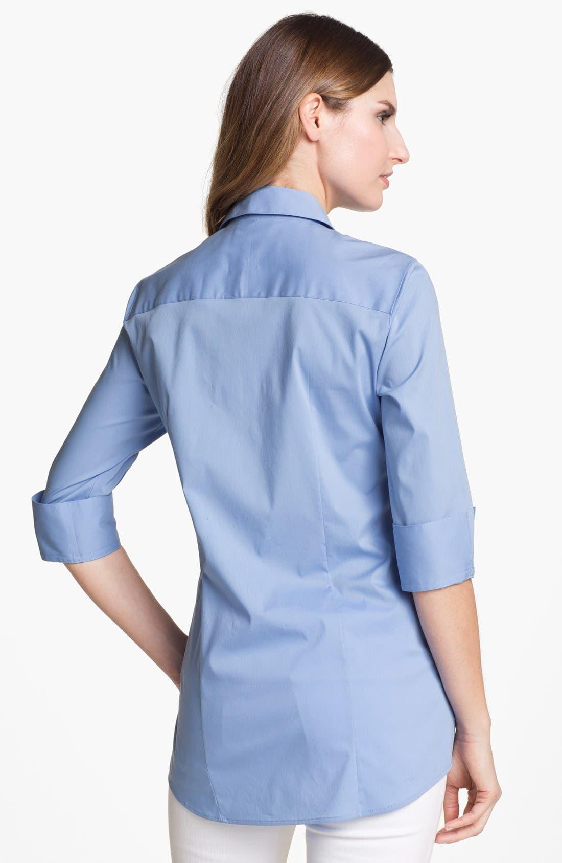 Alternate Image 2  - Foxcroft Three Quarter Sleeve Shaped Shirt