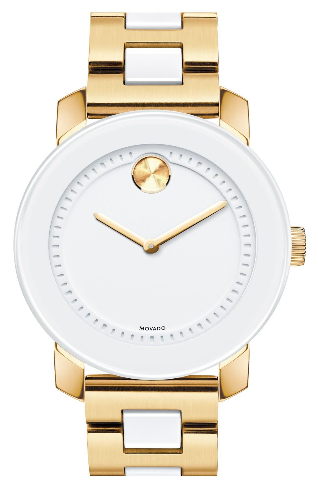 Main Image - Movado 'Bold' White Link Bracelet Watch, 36mm