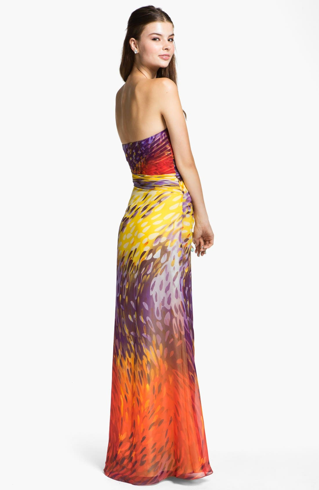 Alternate Image 2  - Dalia MacPhee 'Paint' Print Strapless Chiffon Gown