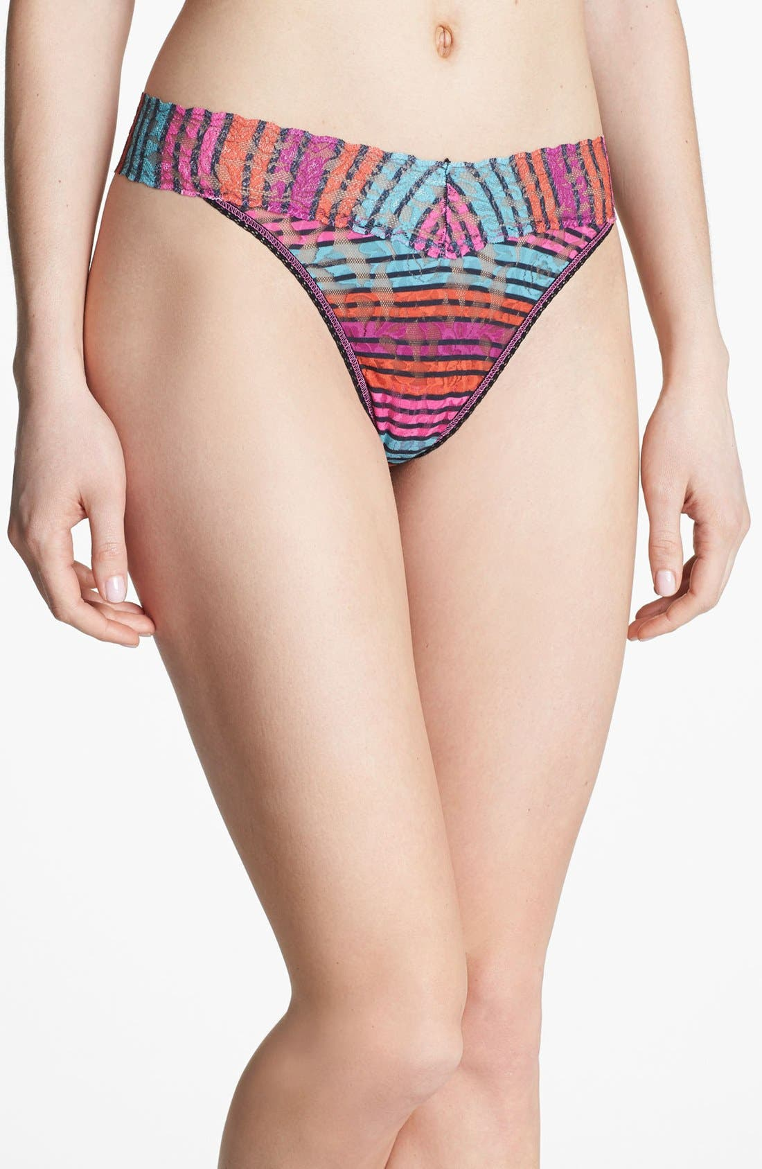 Alternate Image 1 Selected - Hanky Panky 'Licorice Stripe' Regular Rise Thong test IMT hello