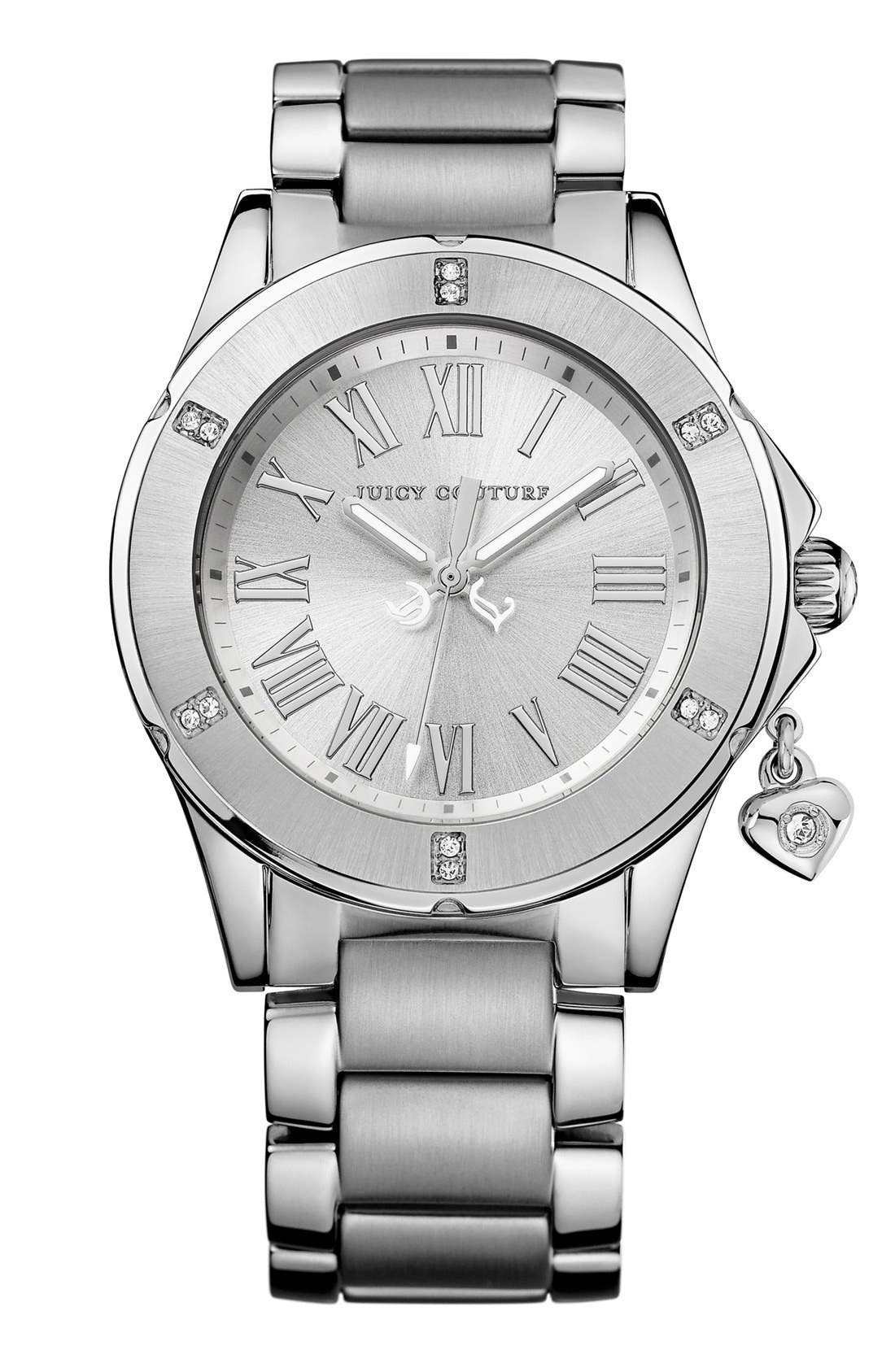 Alternate Image 1 Selected - Juicy Couture 'Rich Girl' Round Dial Bracelet Watch, 41mm