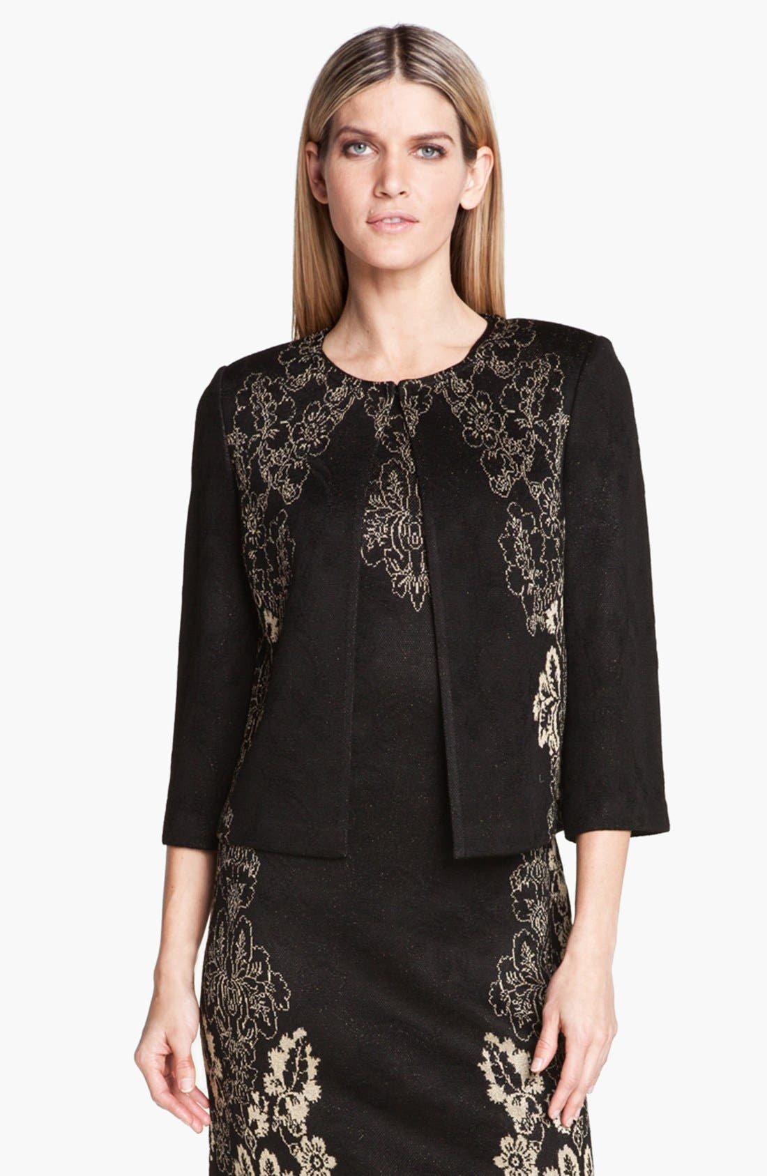 Main Image - St. John Collection Floral Jacquard Knit Jacket