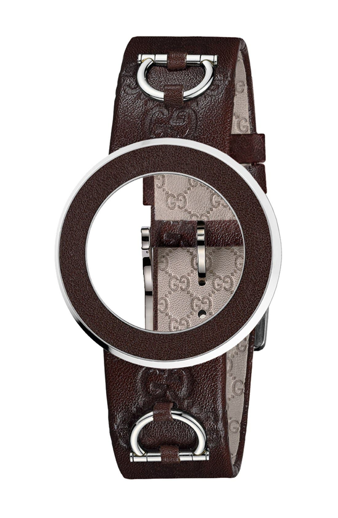 Alternate Image 1 Selected - Gucci 'U-Play' Leather Bezel & Watch Strap