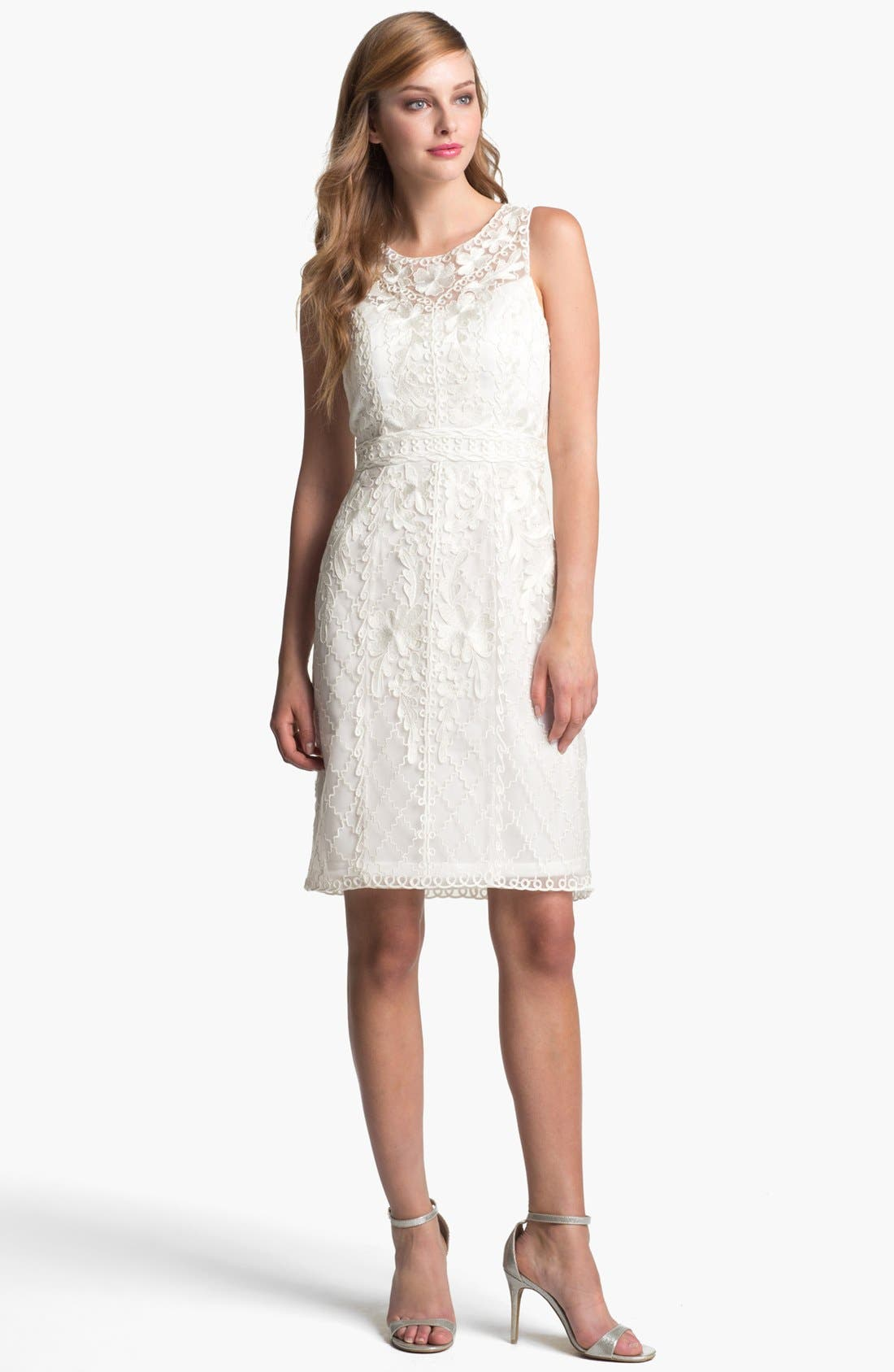 Alternate Image 1 Selected - Sue Wong Embroidered Lace & Tulle Sheath Dress