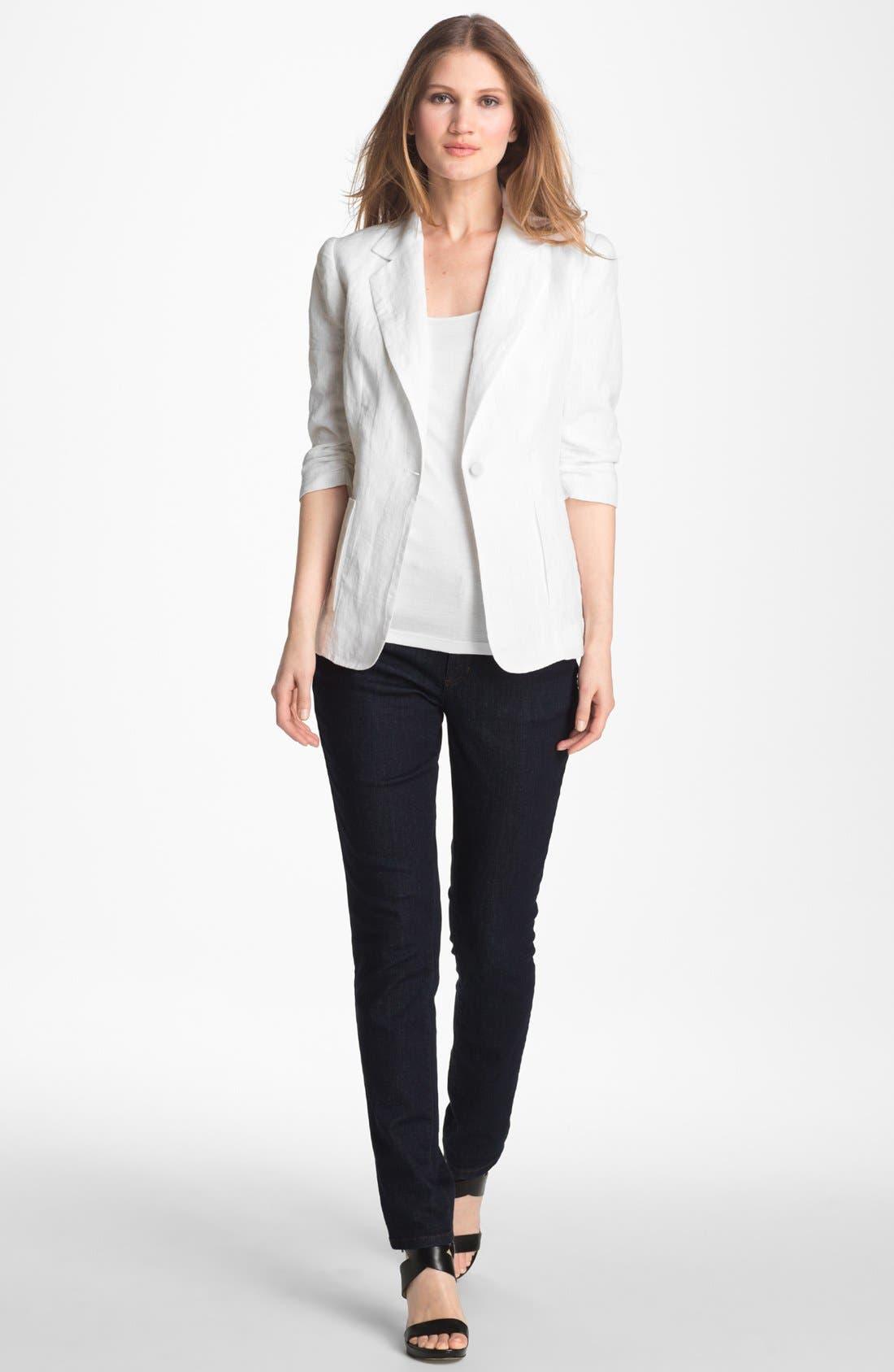 Alternate Image 3  - Alberto Makali Ruched Sleeve Linen Jacket