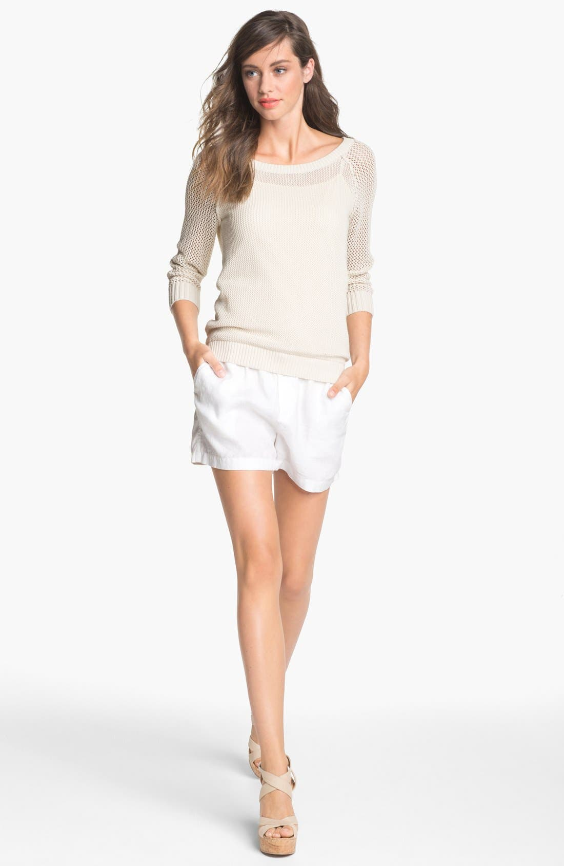 Main Image - Caslon® Drawstring Linen Shorts (Regular & Petite)