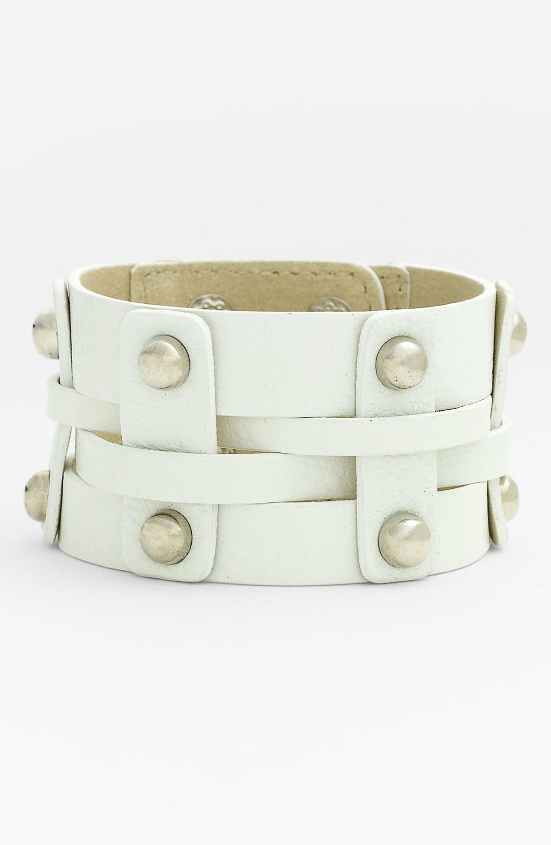 Main Image - Cara Wide Woven Leather Bracelet