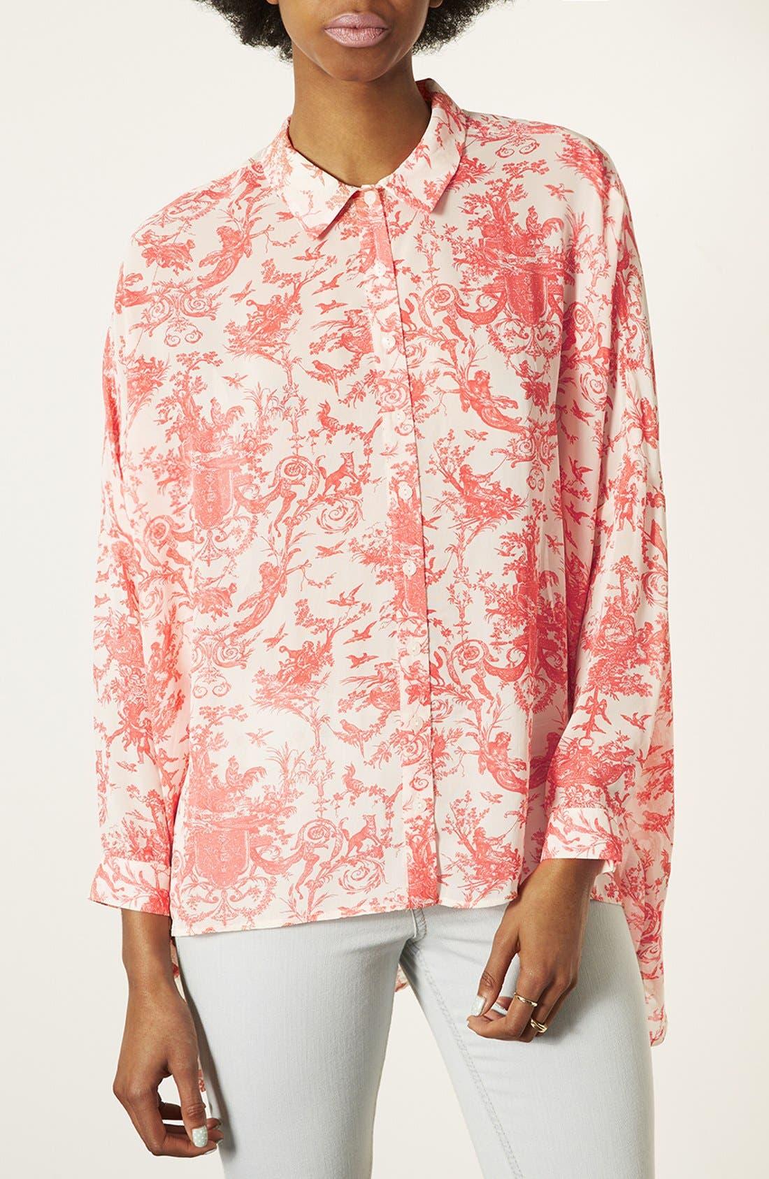 Main Image - Topshop Oversized Print Shirt