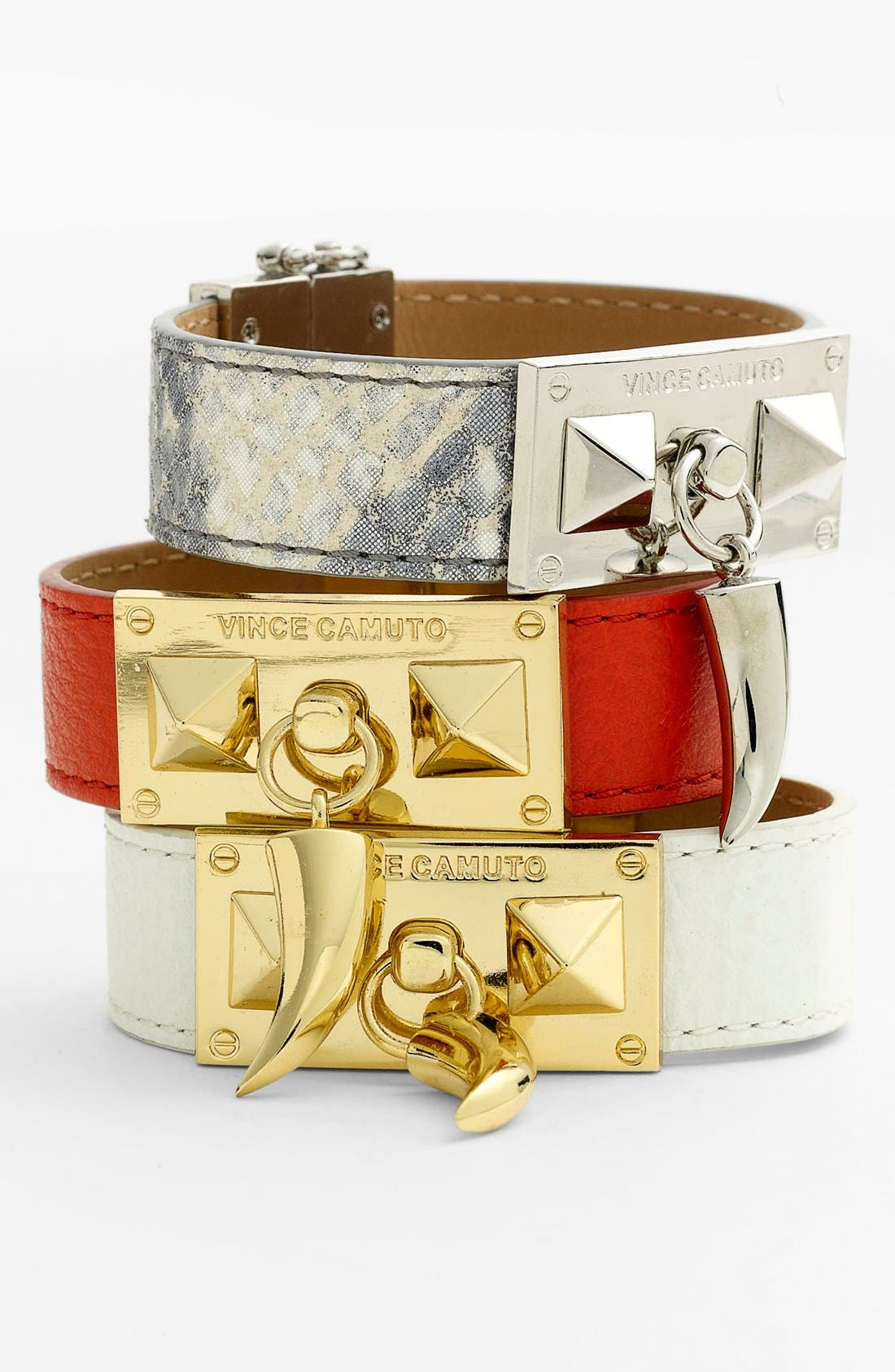Alternate Image 1 Selected - Vince Camuto 'Horn & Pyramid' Leather Bracelet