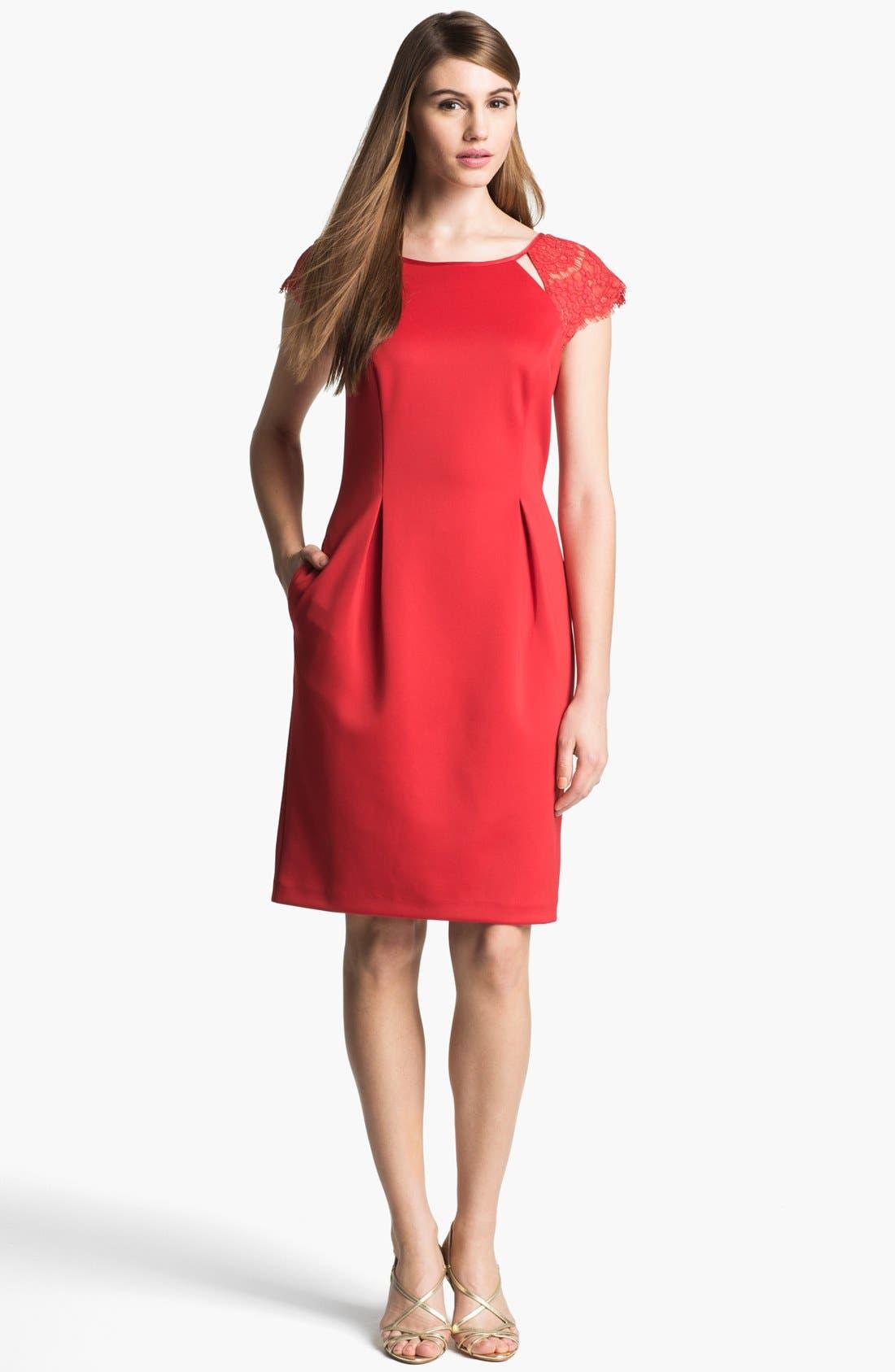 Alternate Image 1 Selected - Alex Evenings Illusion Sleeve Sheath Dress