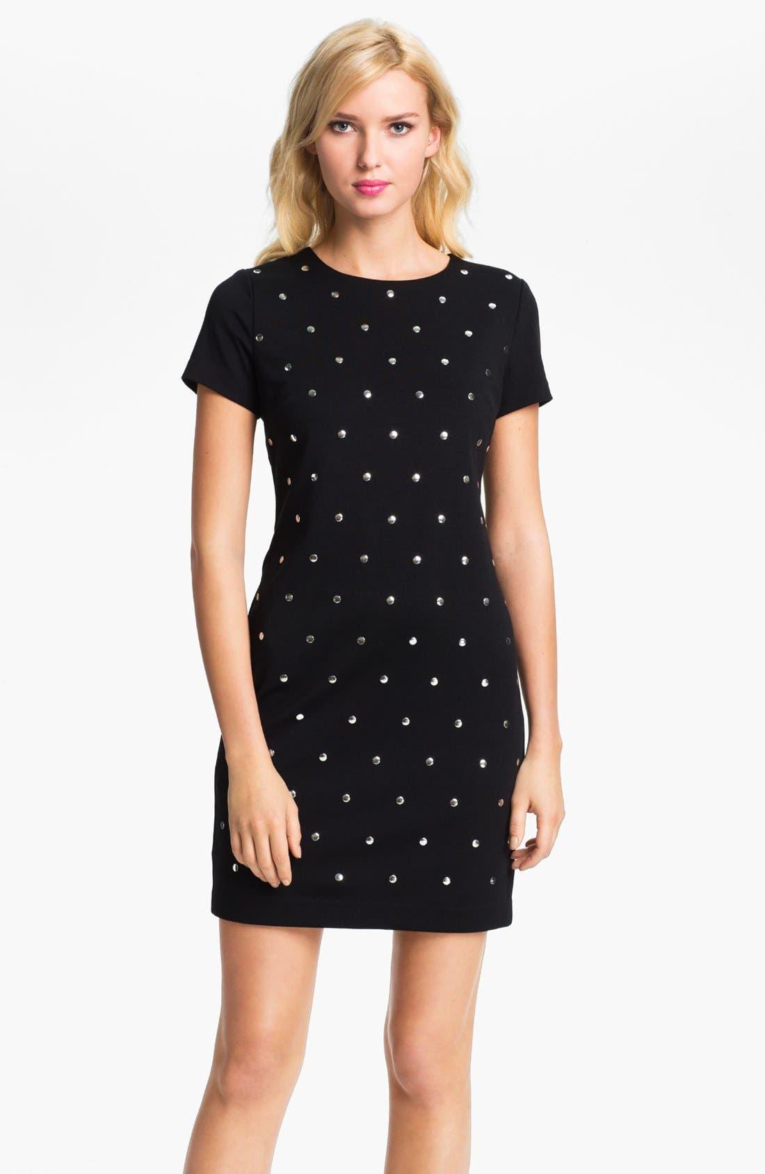 Alternate Image 1 Selected - MICHAEL Michael Kors Studded Short Sleeve Dress (Petite)