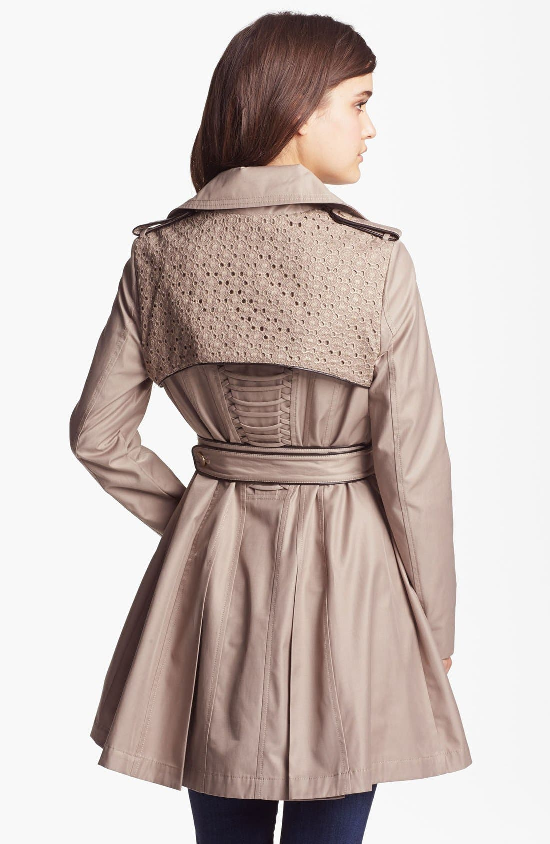 Alternate Image 2  - Betsey Johnson Lace Flap Double Breasted Trench Coat (Online Only)